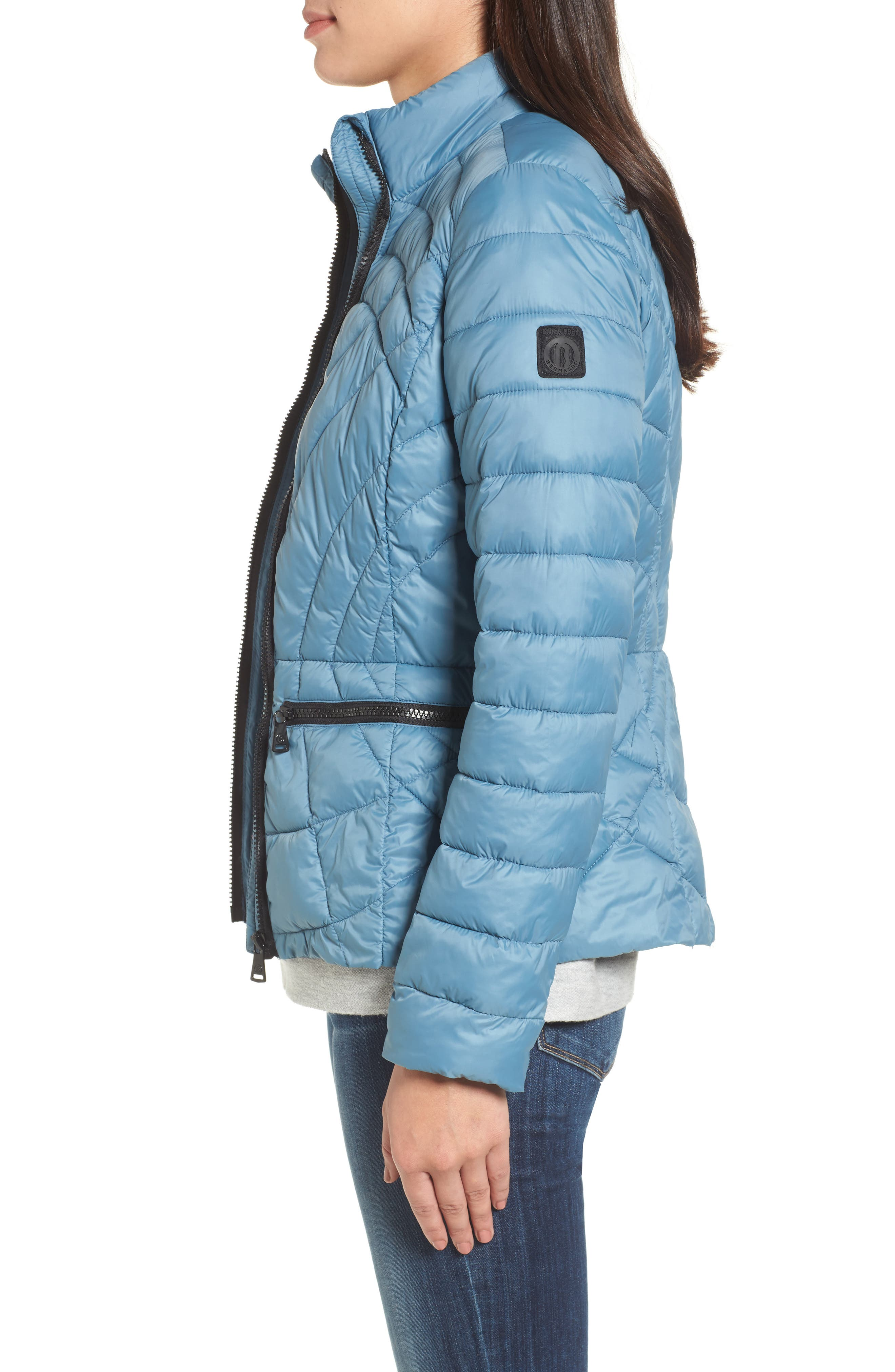 Sporty Water-Resistant Quilted Jacket,                             Alternate thumbnail 3, color,                             Aqua Blue
