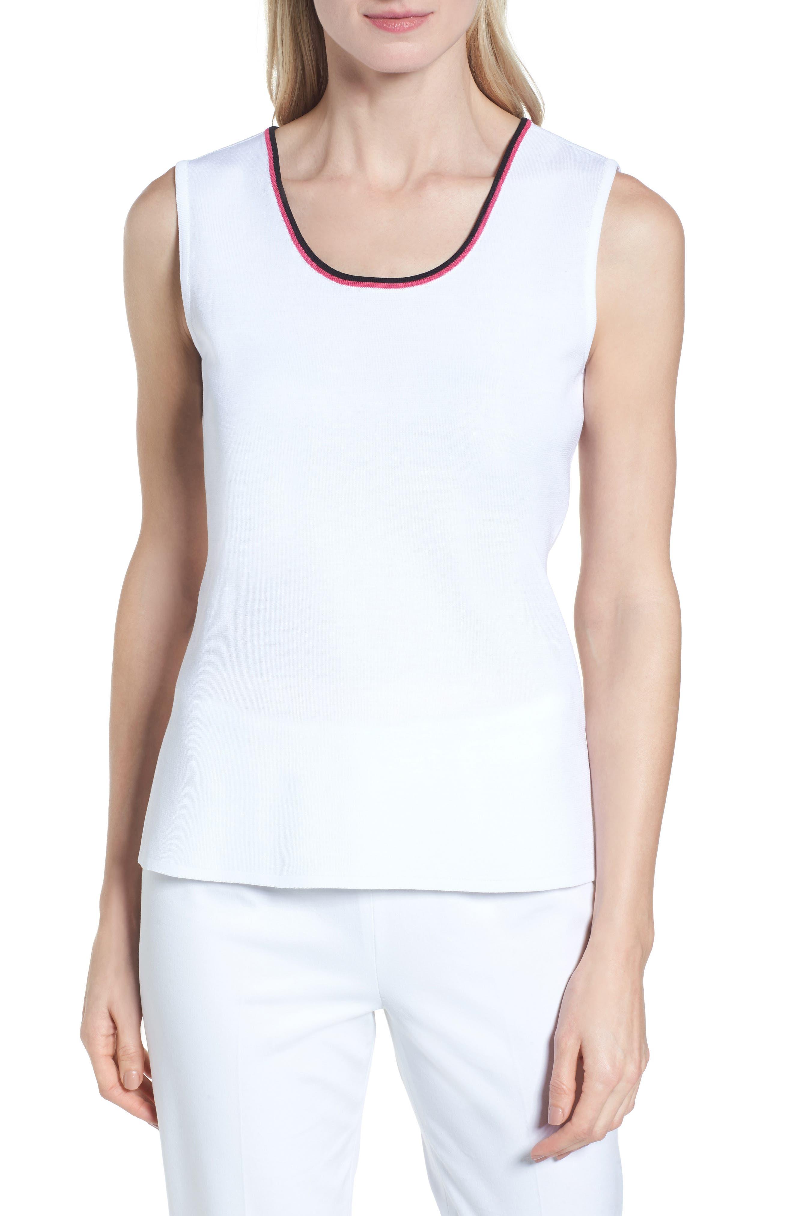 Scoop Neck Knit Tank,                         Main,                         color, White/ Black/ Dahlia