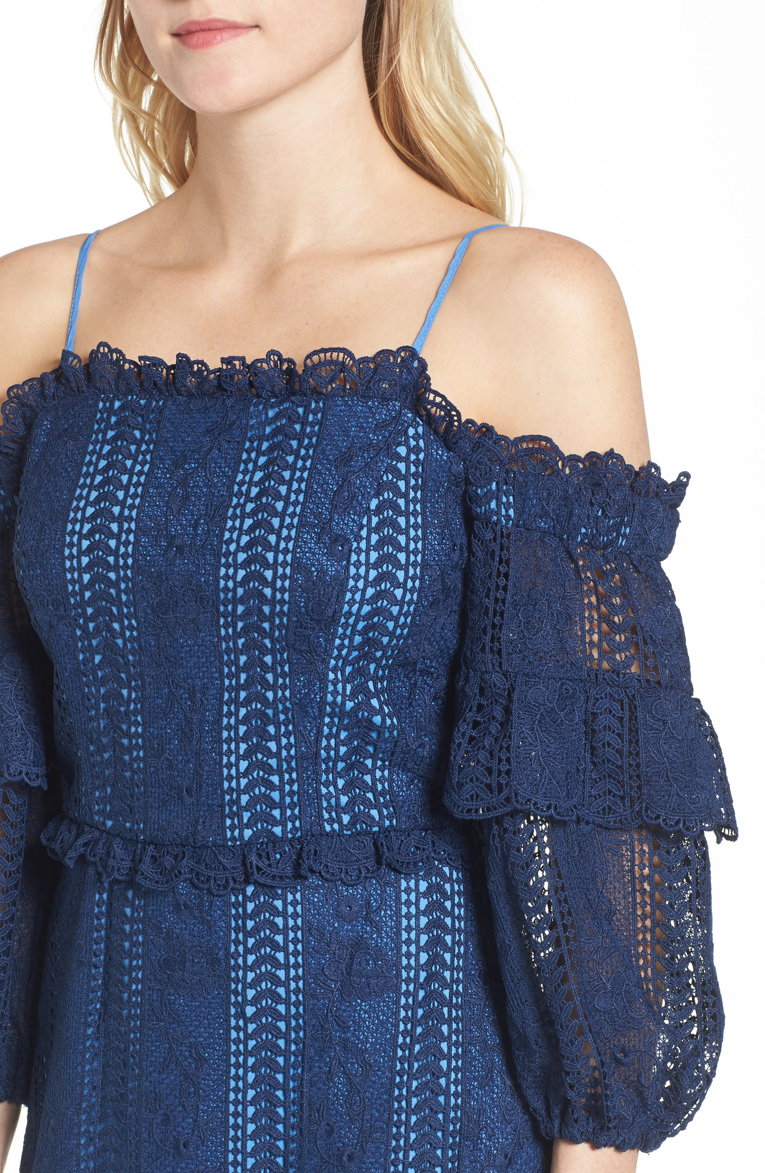Irma Lace Off the Shoulder Dress,                             Alternate thumbnail 4, color,                             Night