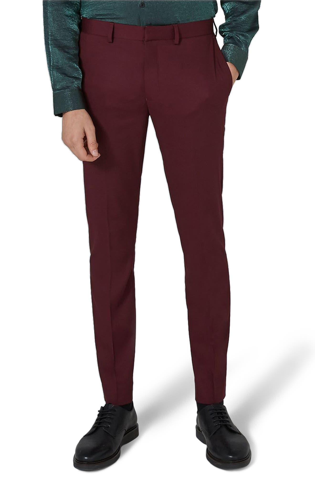 Skinny Fit Burgundy Tuxedo Trousers,                         Main,                         color, Burgundy