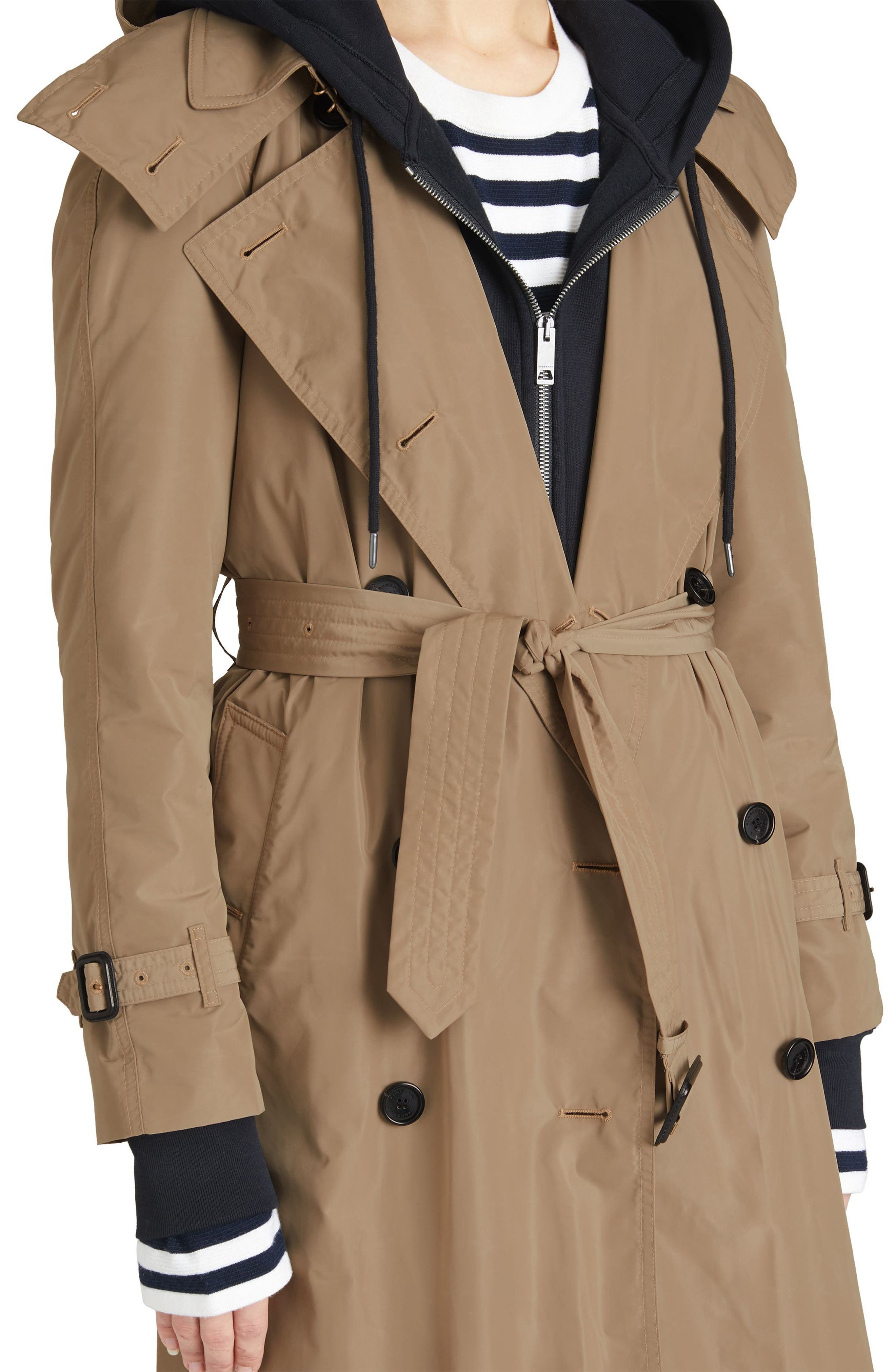 Amberford Taffeta Trench Coat with Detachable Hood,                             Alternate thumbnail 4, color,                             Sisal