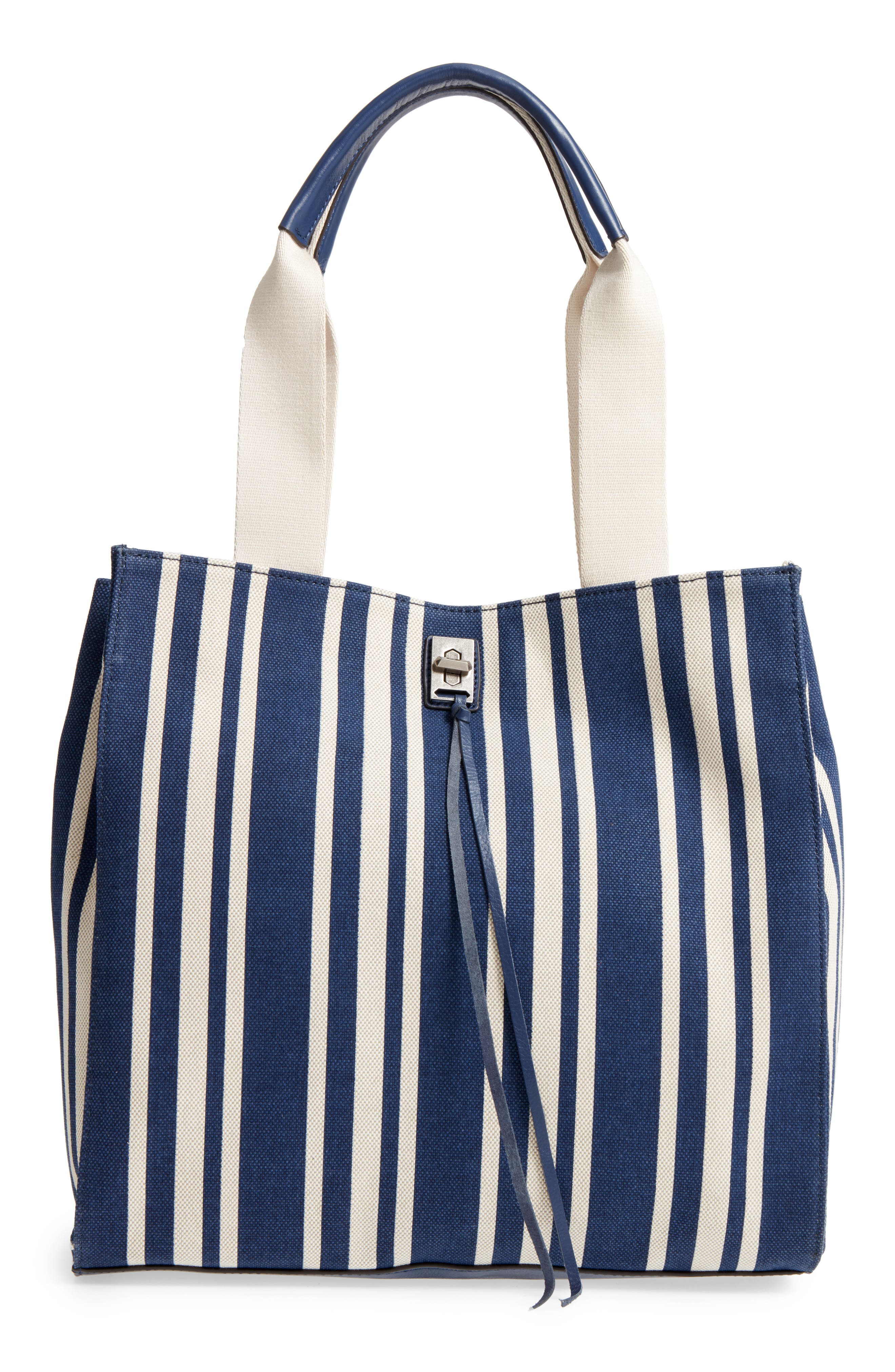 Darren Stripe Canvas Tote,                             Main thumbnail 1, color,                             Navy Stripe