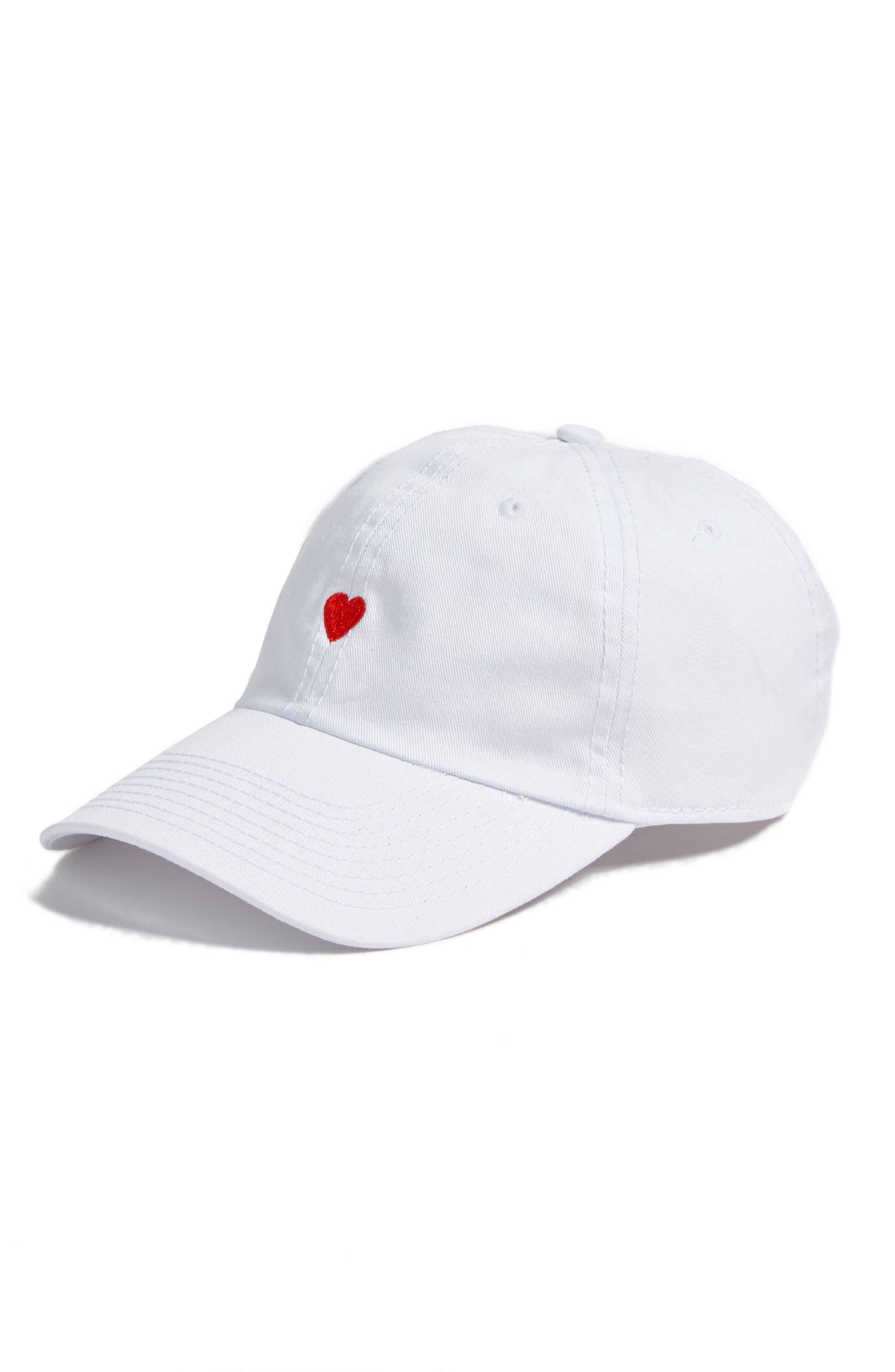 Micro Heart Baseball Cap,                             Main thumbnail 1, color,                             White