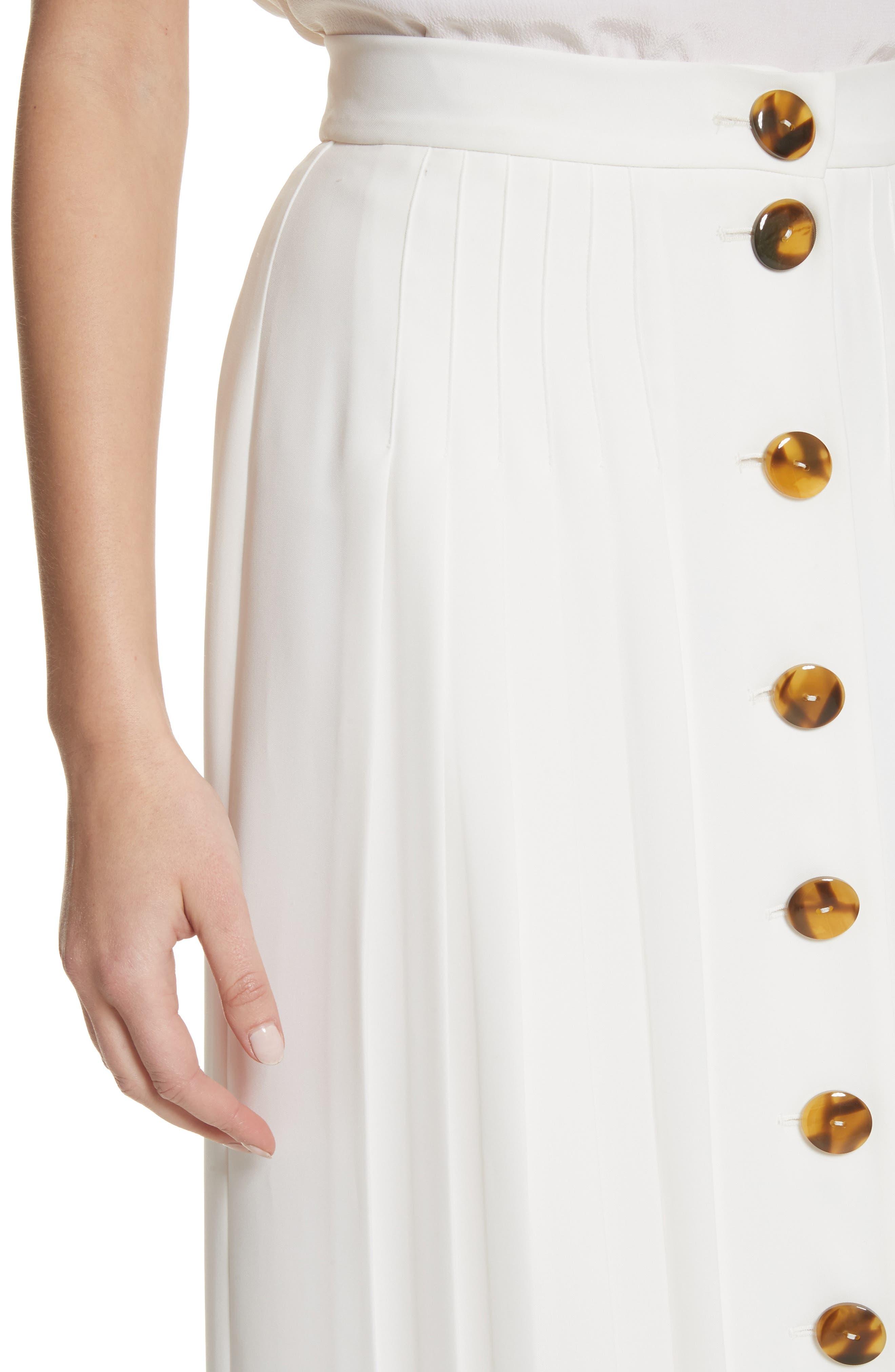 Pleated Button Skirt,                             Alternate thumbnail 4, color,                             White