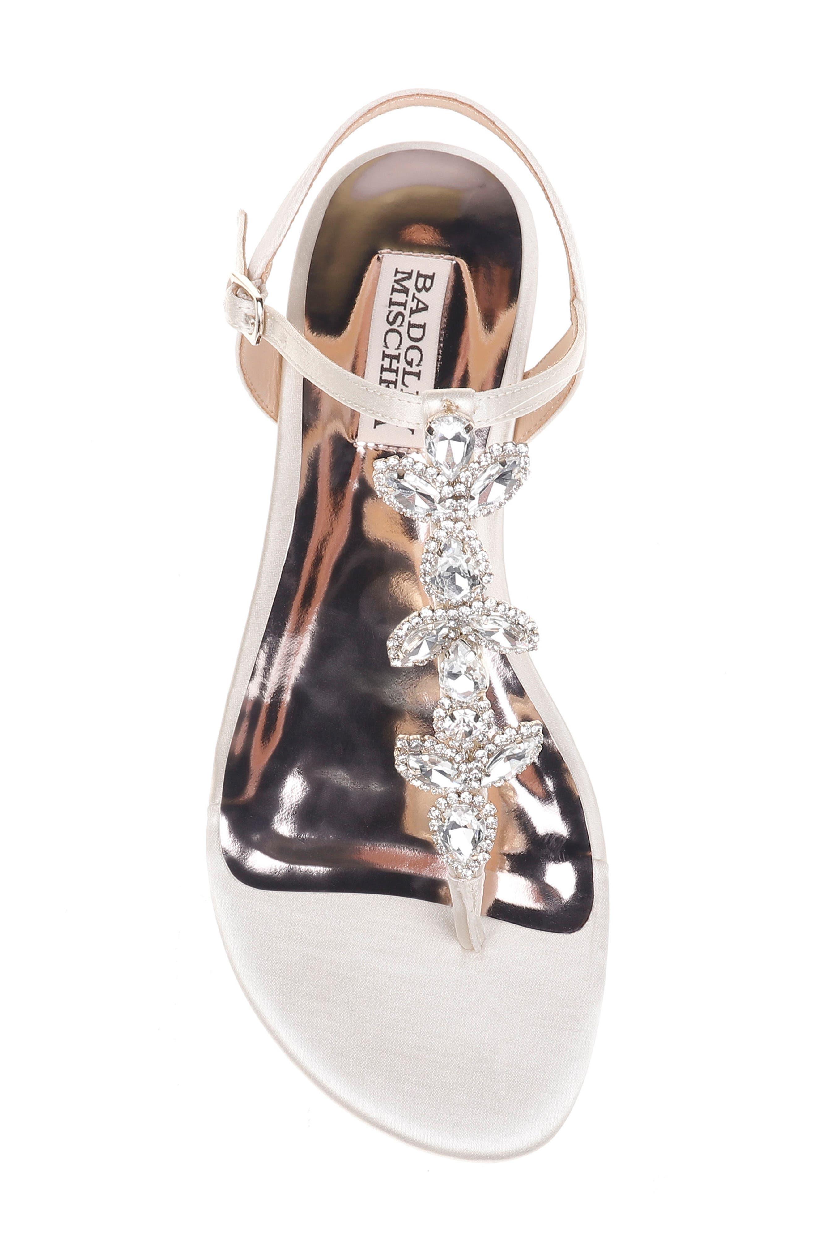Sissi Crystal Embellished Sandal,                             Alternate thumbnail 5, color,                             Ivory Satin