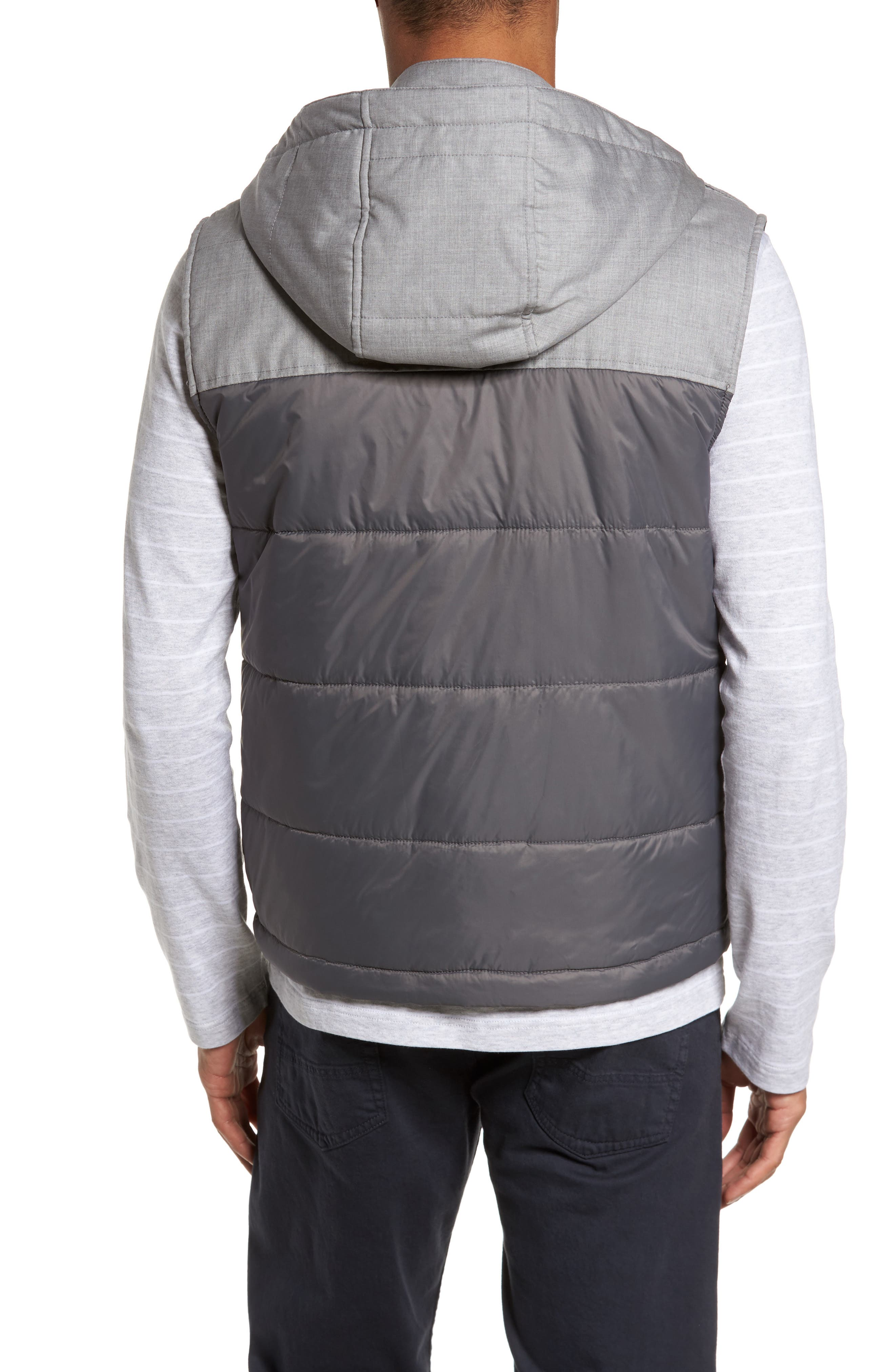 Mixed Media Quilted Vest,                             Alternate thumbnail 2, color,                             Grey
