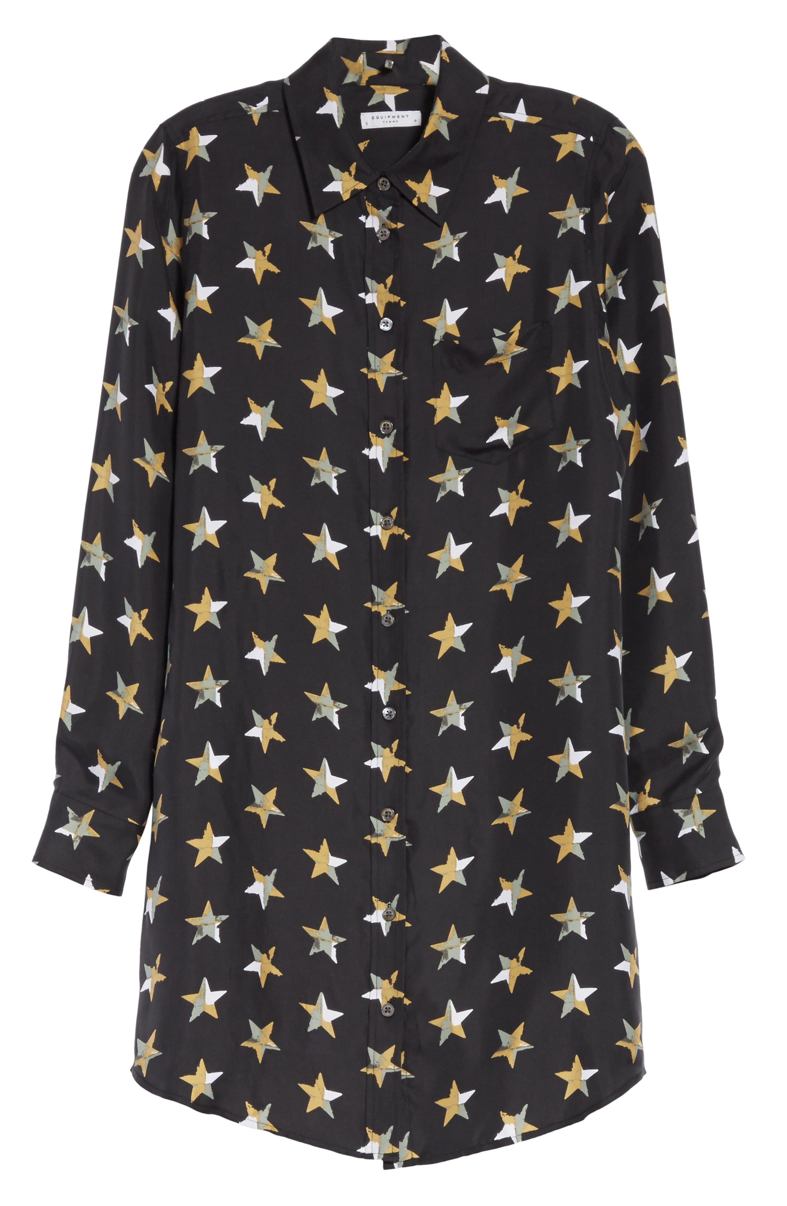 Brett Star Print Silk Shirtdress,                             Alternate thumbnail 6, color,                             True Black Multi