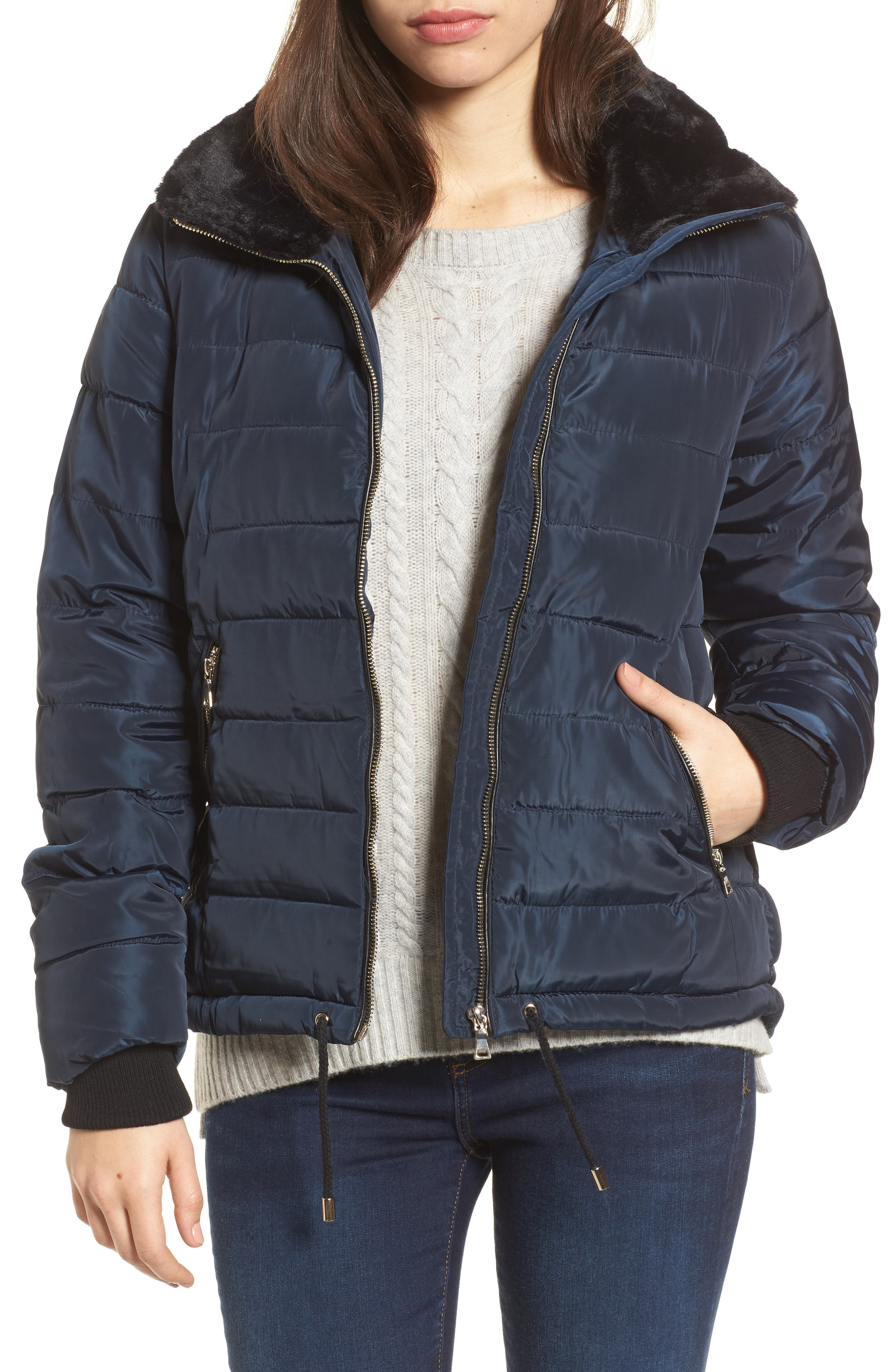 Puffer Jacket with Faux Fur Collar Lining,                         Main,                         color, Navy Blue