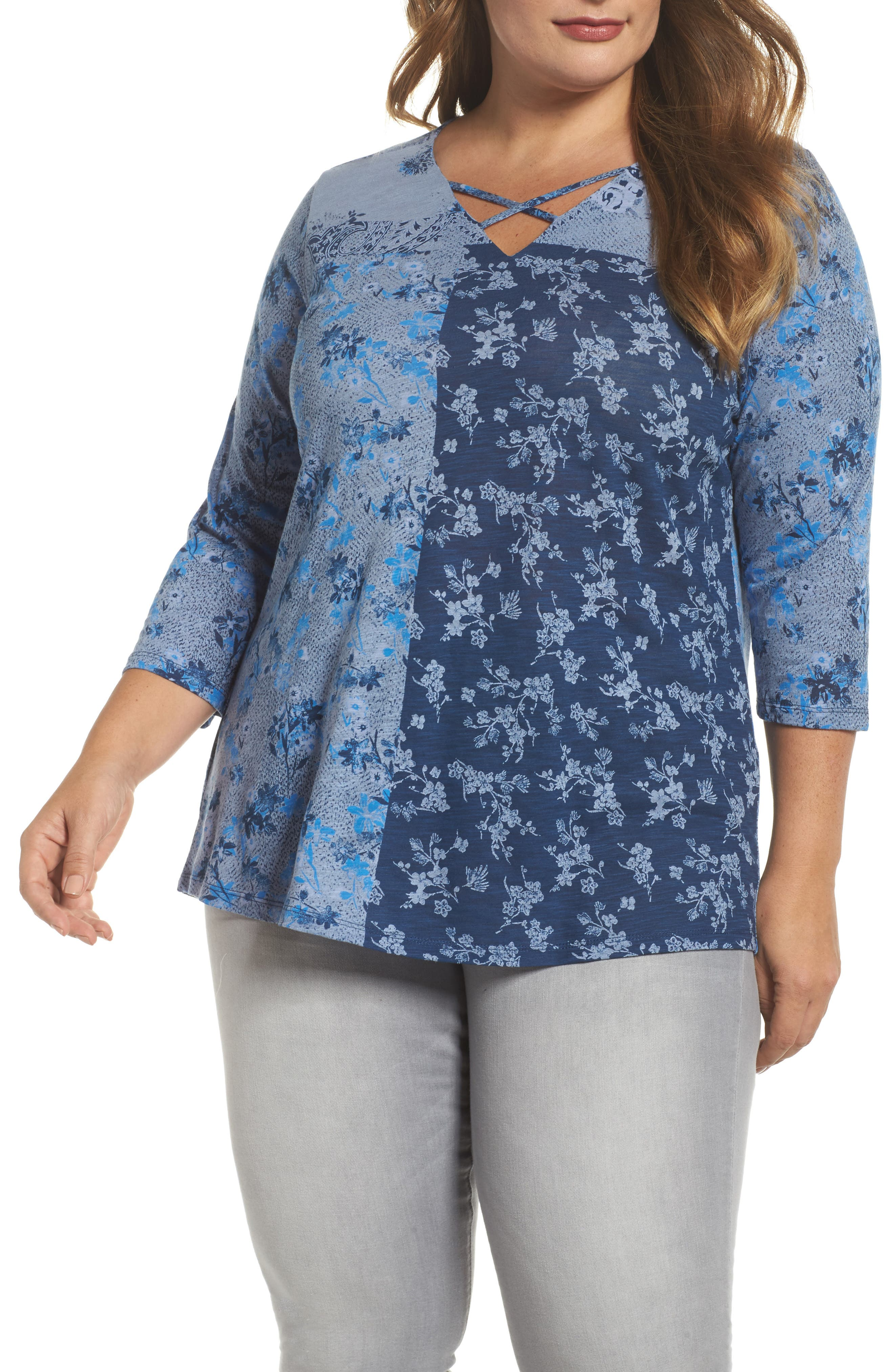 Madeline Floral Top,                             Main thumbnail 1, color,                             Blue Multi