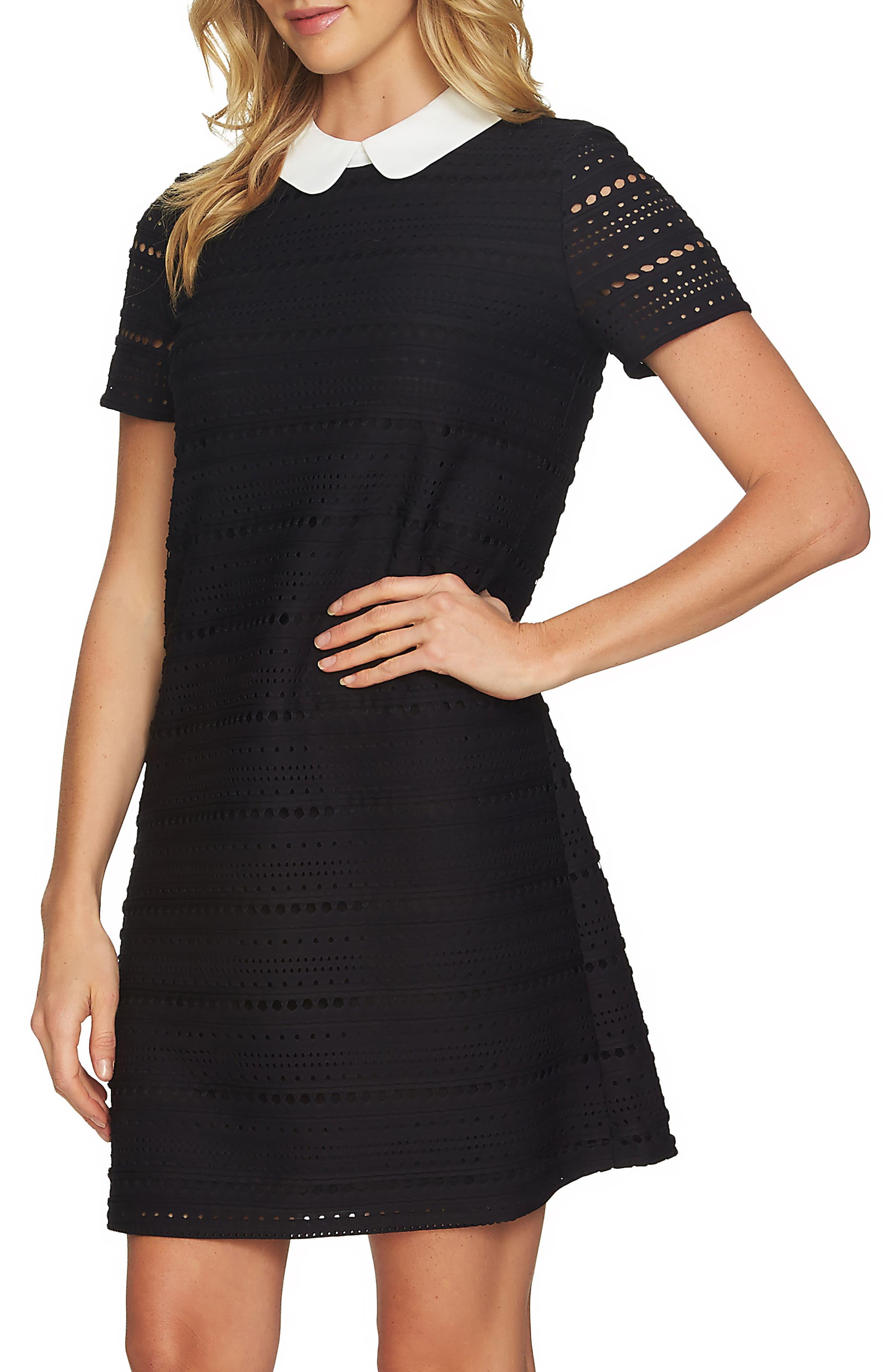 Eyelet Knit A-Line Dress,                             Main thumbnail 1, color,                             Rich Black
