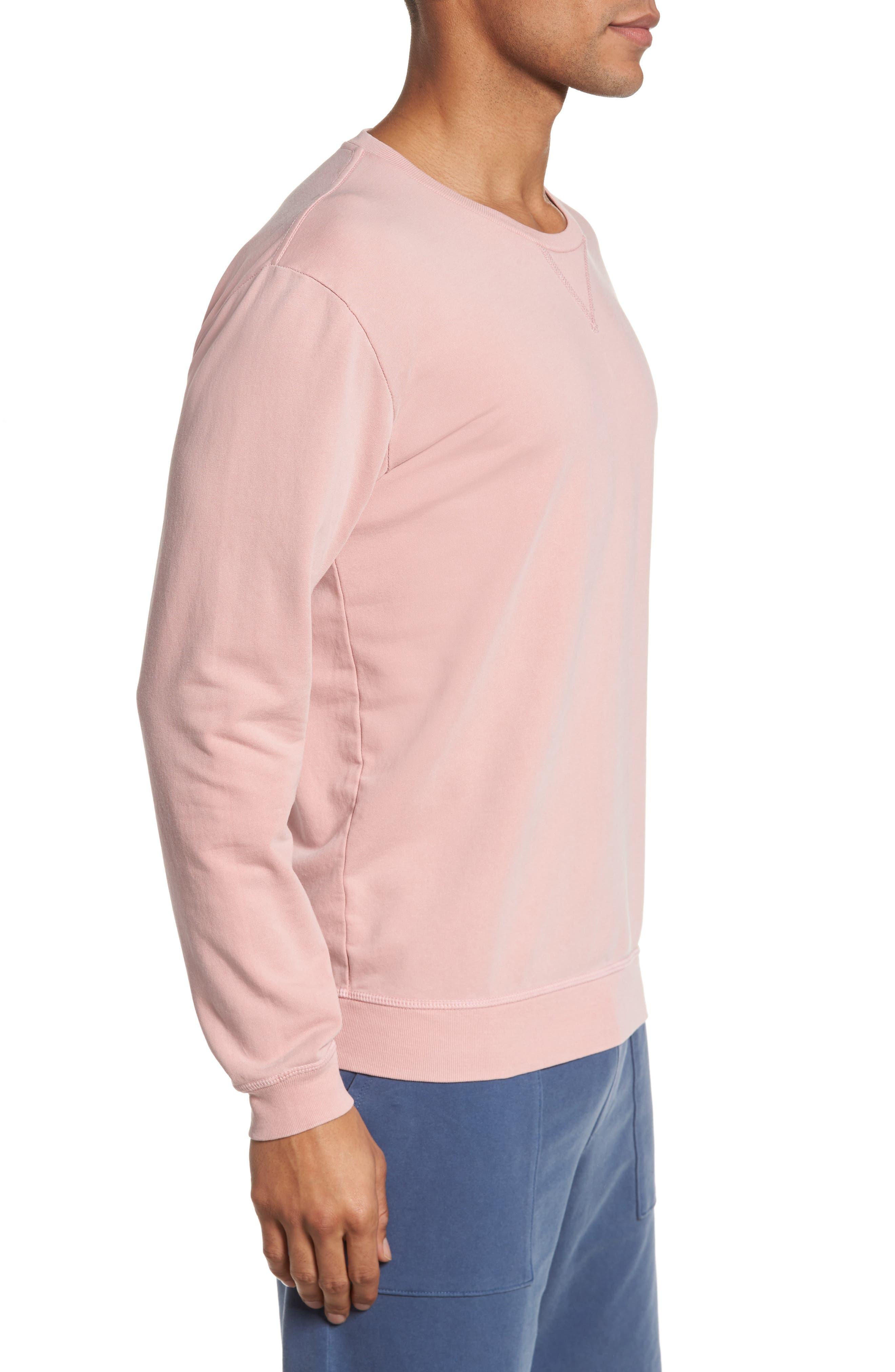 Slim Fit Crewneck Sweatshirt,                             Alternate thumbnail 3, color,                             Faded Rose
