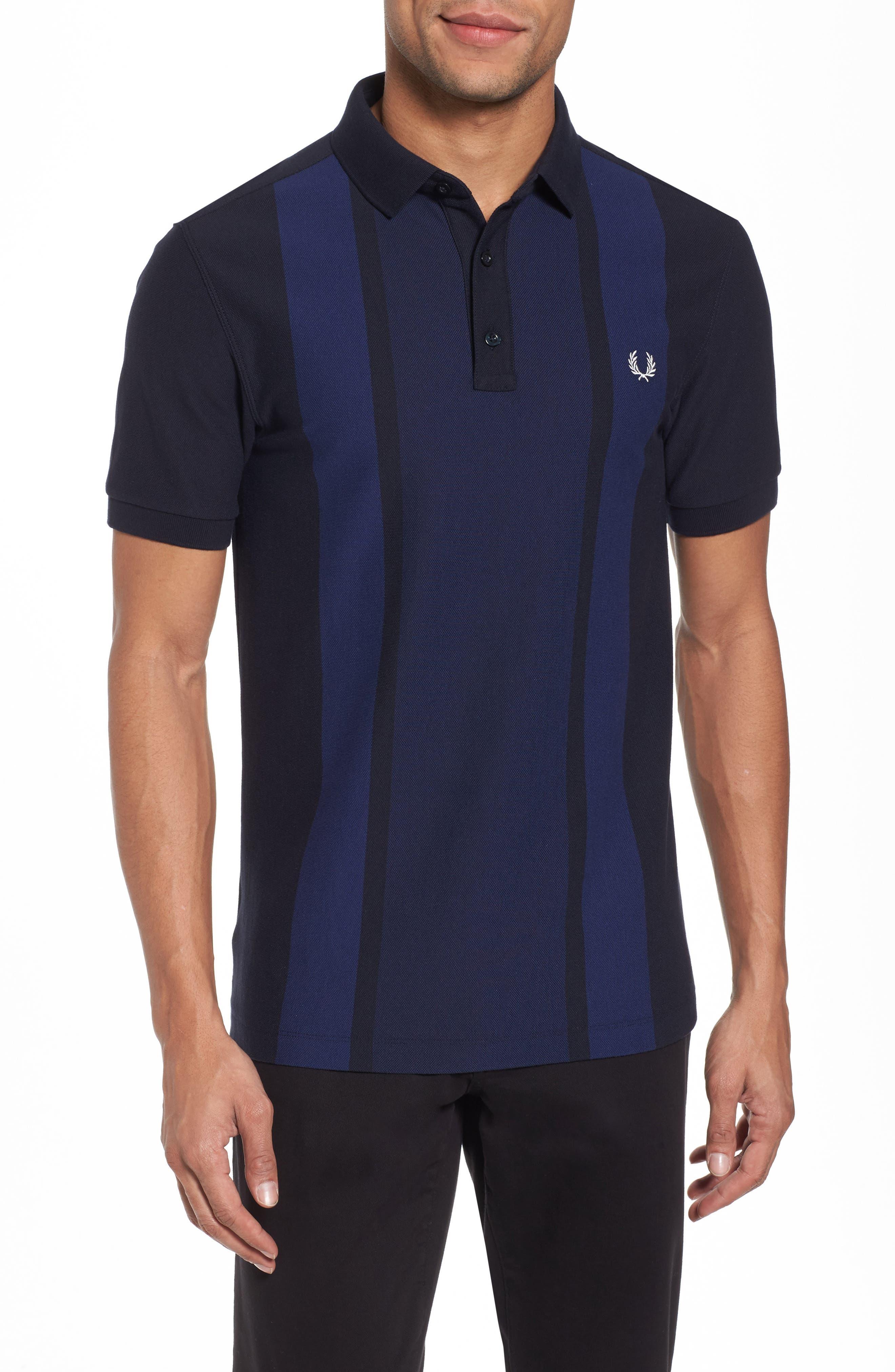Stripe Piqué Polo,                             Main thumbnail 1, color,                             Carbon Blue