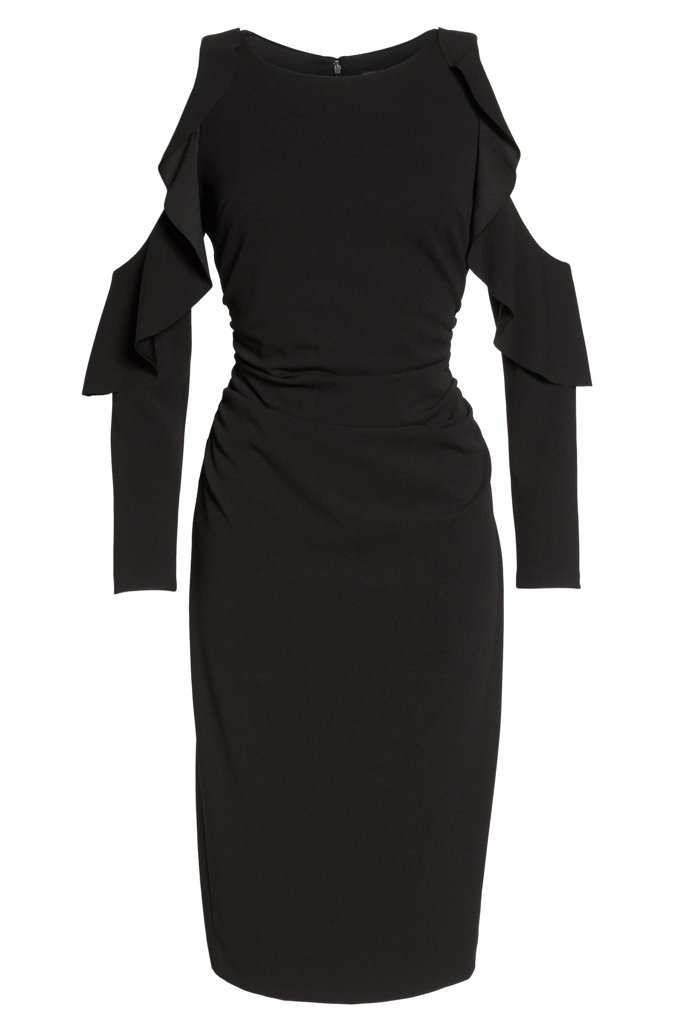 Cold Shoulder Midi Dress,                             Alternate thumbnail 6, color,                             Black