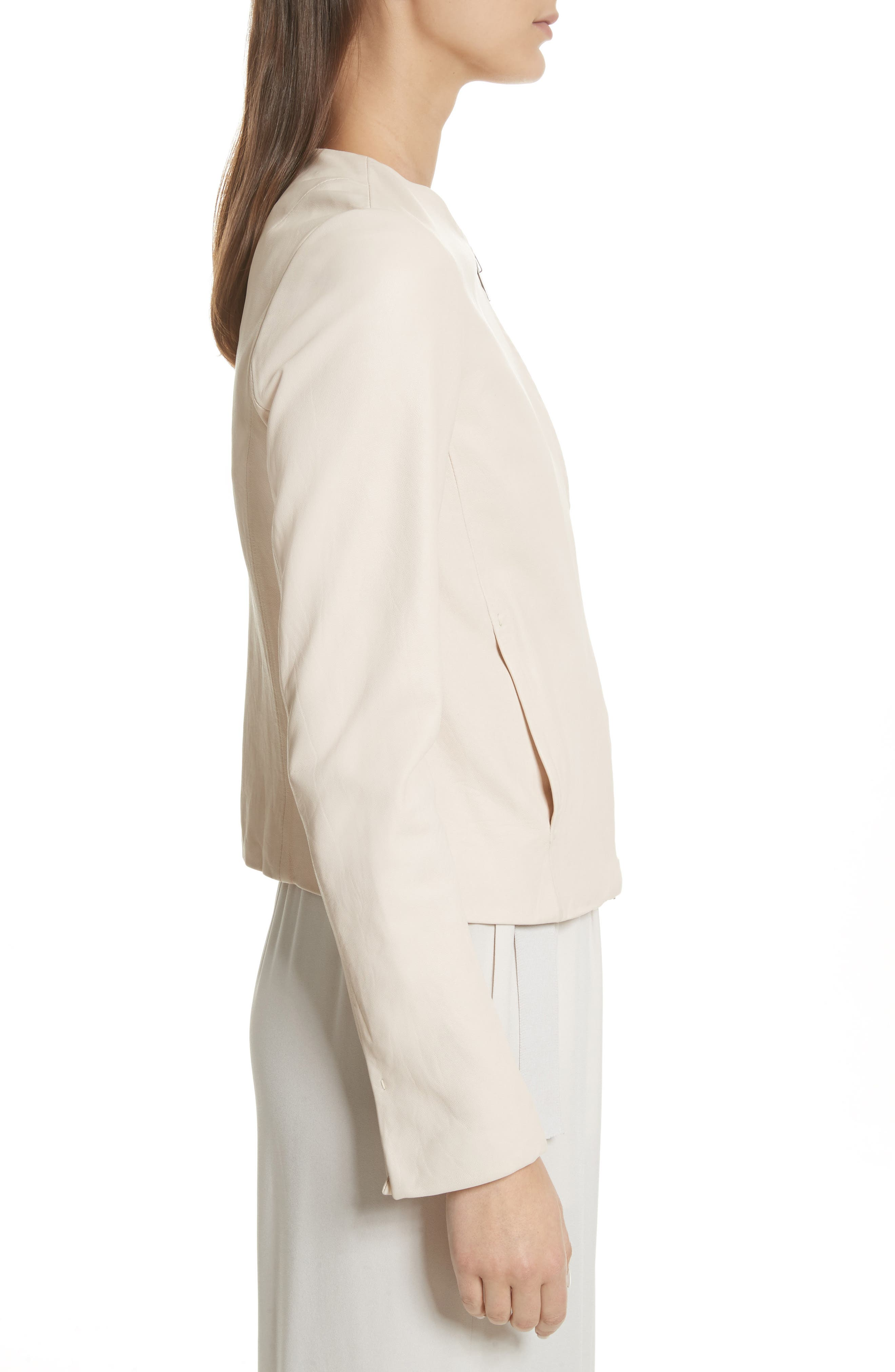 Leather Moto Jacket,                             Alternate thumbnail 3, color,                             Rosewater