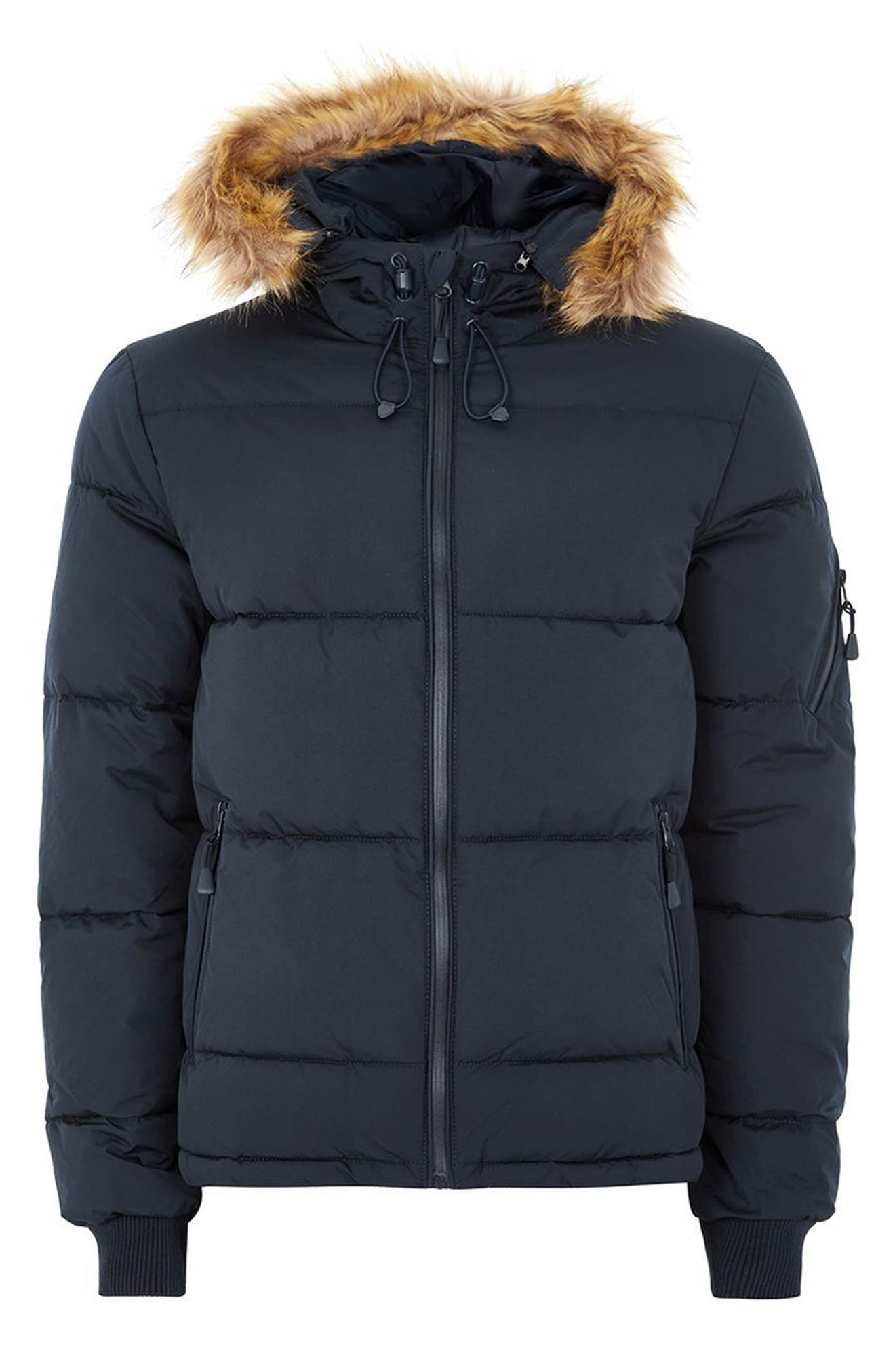 Maguire Hooded Puffer Coat with Faux Fur Trim,                             Alternate thumbnail 4, color,                             Navy Blue