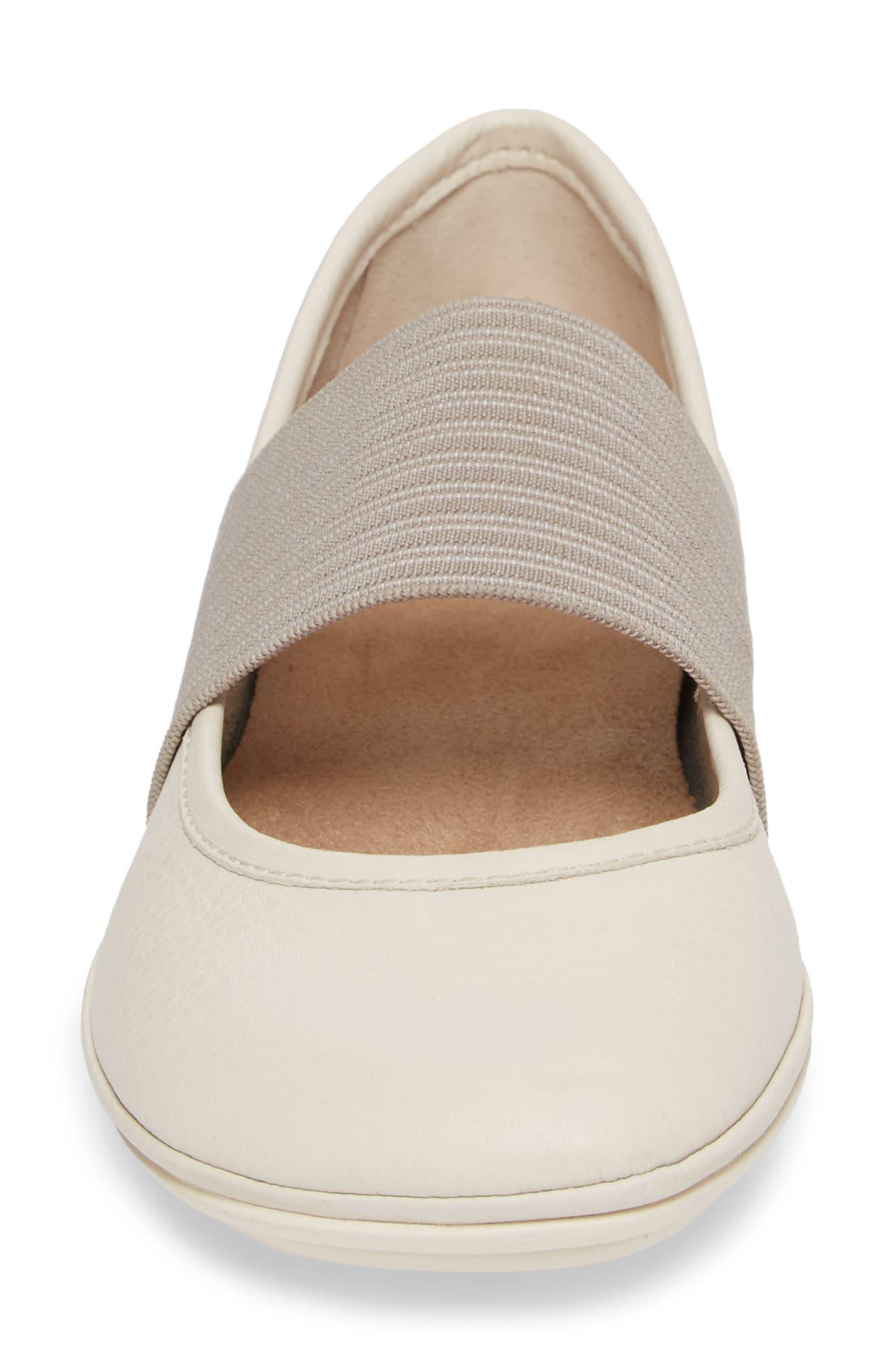 'Right Nina' Leather Ballerina Flat,                             Alternate thumbnail 4, color,                             Light Beige Leather