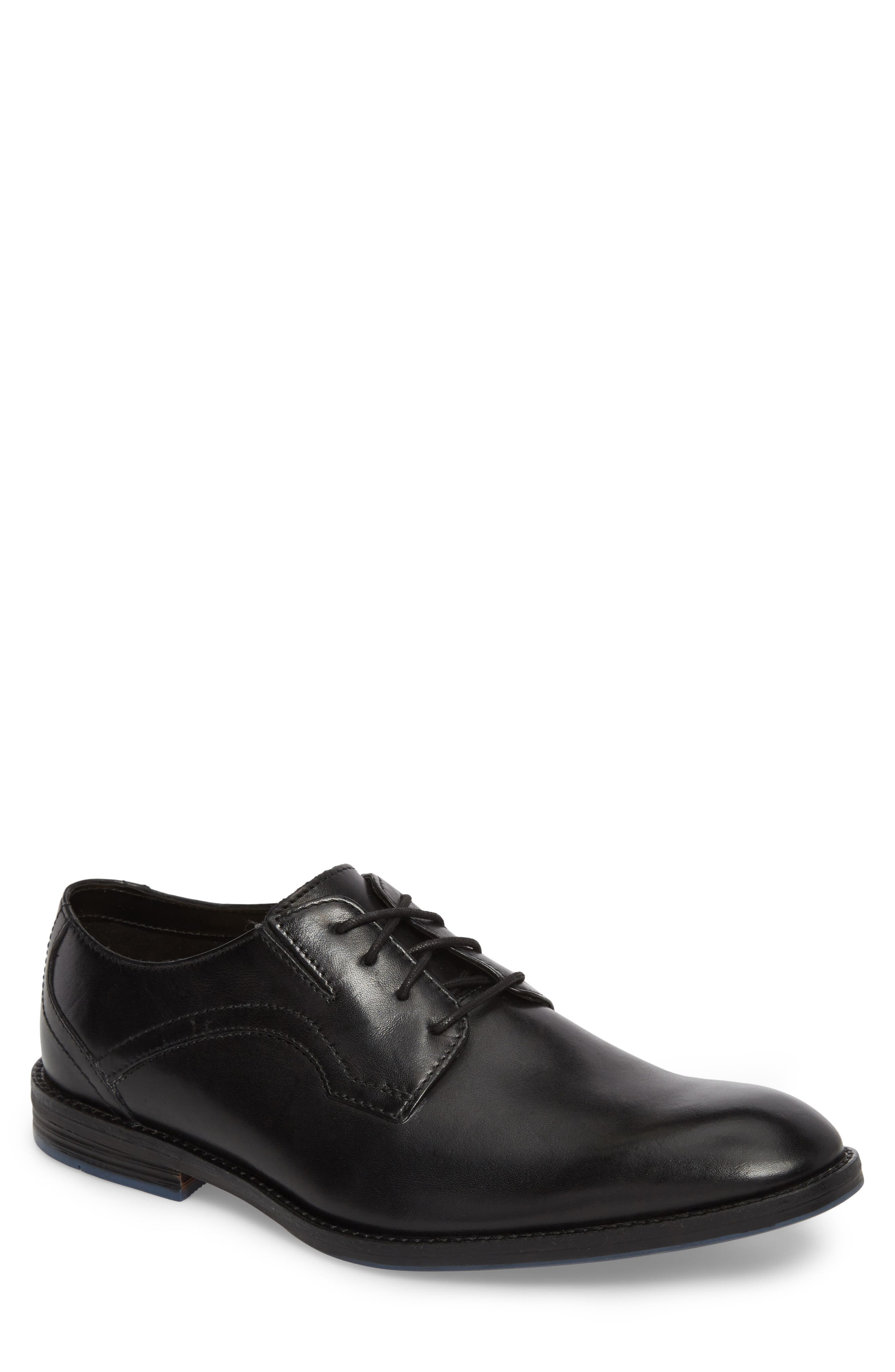 Clarks<sup>®</sup> Prangley Walk Plain Toe Derby,                             Main thumbnail 1, color,                             Black Leather