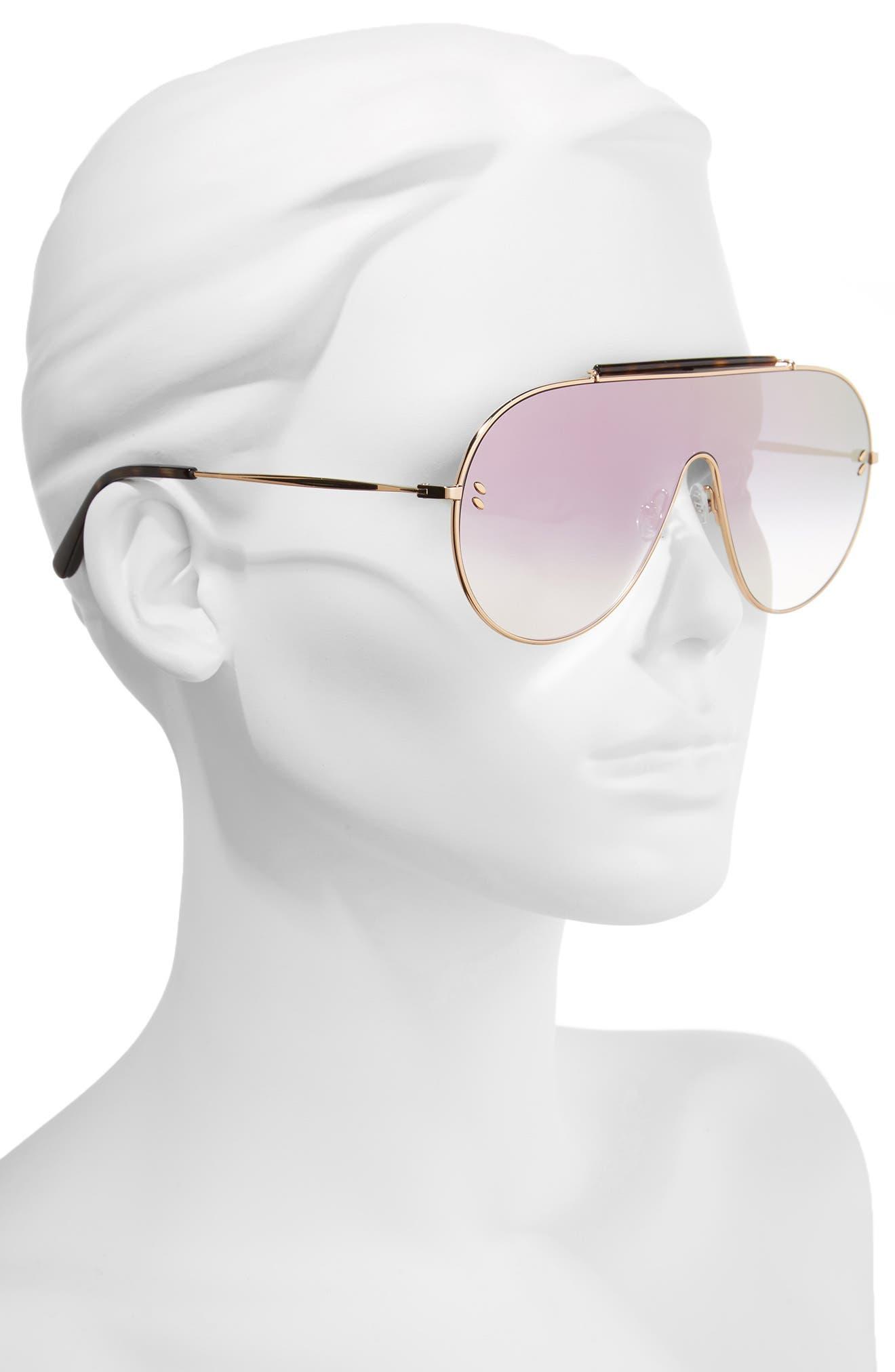 65mm Shield Sunglasses,                             Alternate thumbnail 2, color,                             Gold