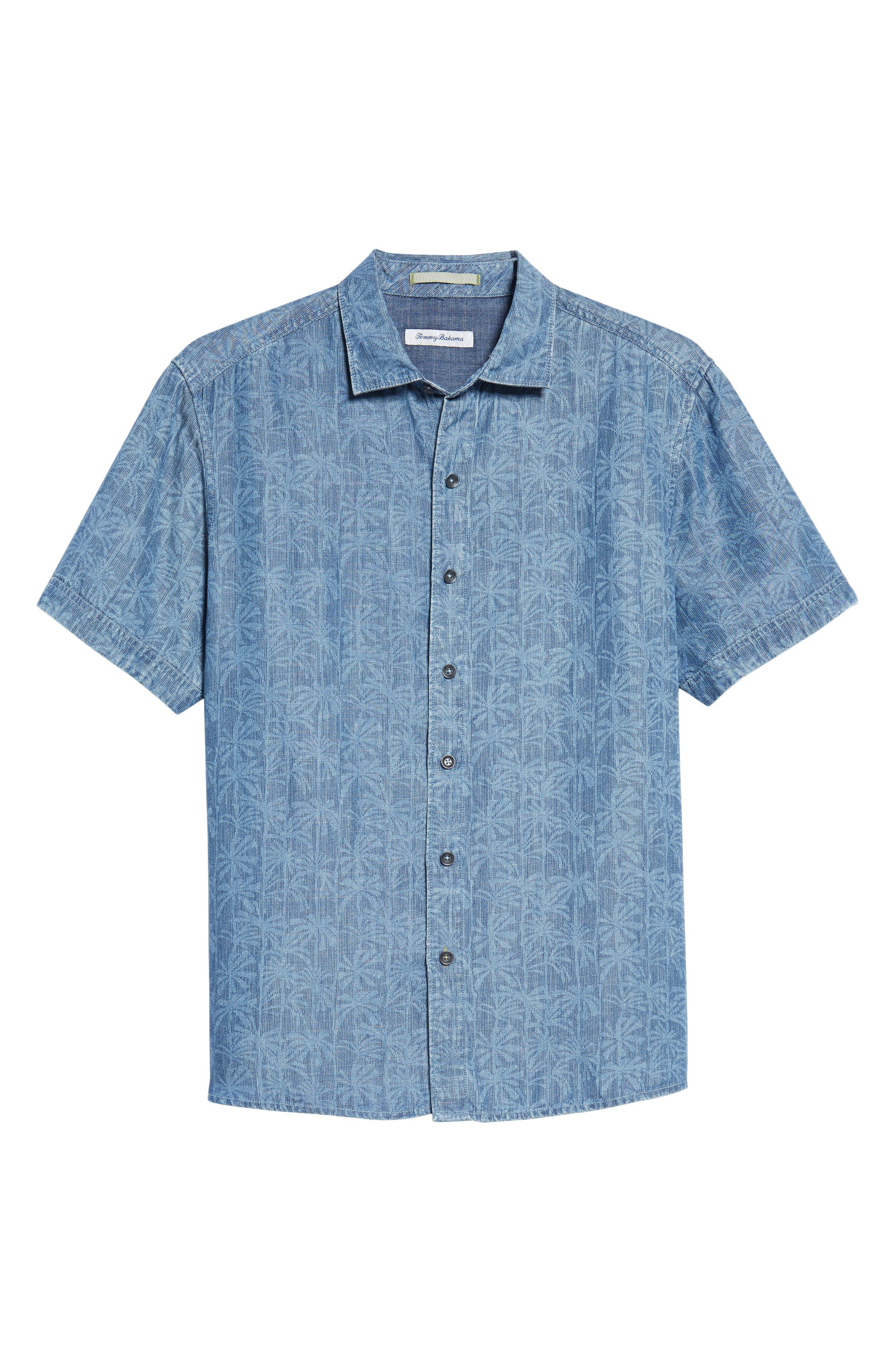 Block Party Palms Chambray Sport Shirt,                             Alternate thumbnail 6, color,                             Light Indigo
