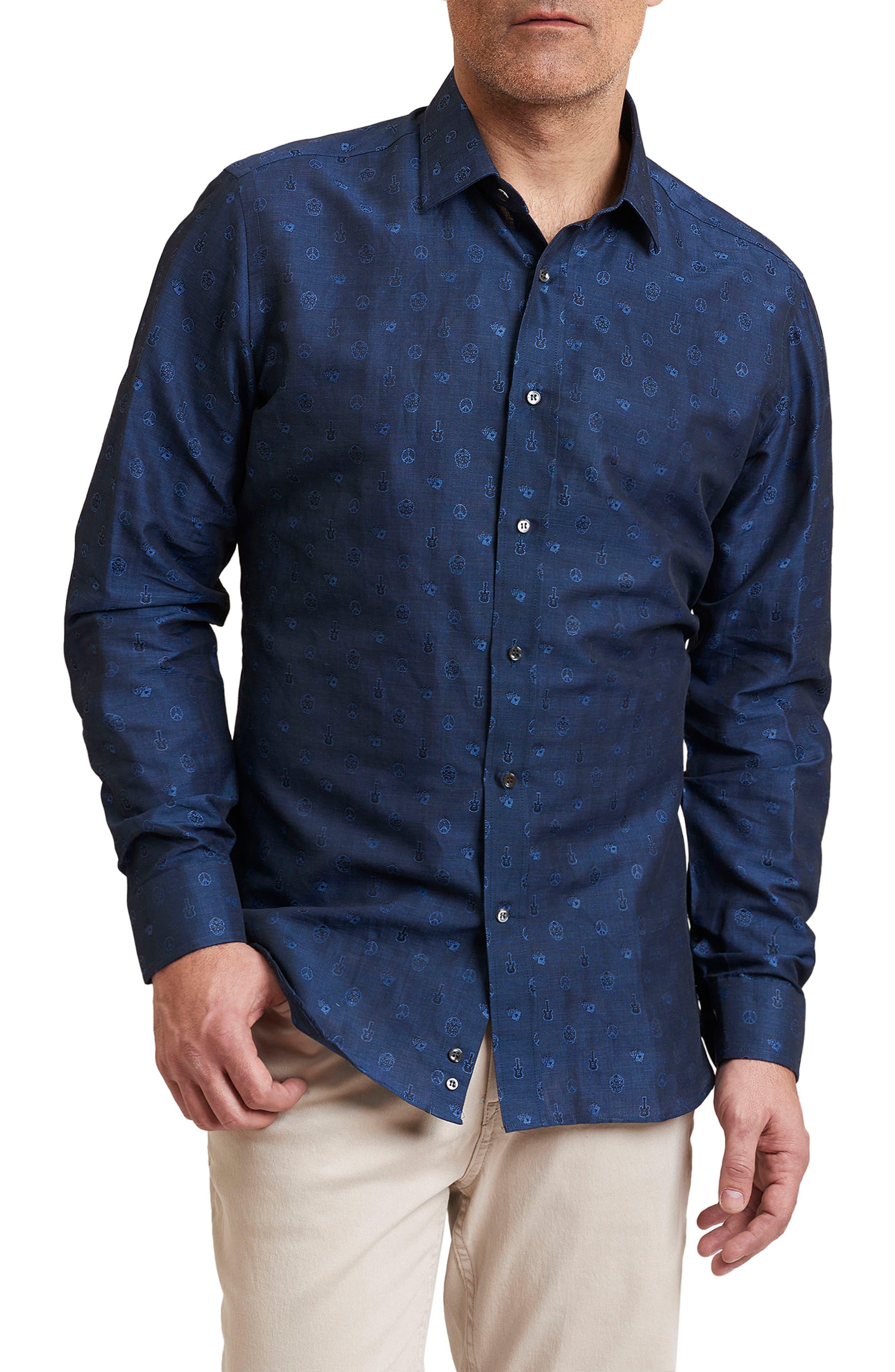 Amusement Regular Fit Embroidered Sport Shirt,                         Main,                         color, Navy
