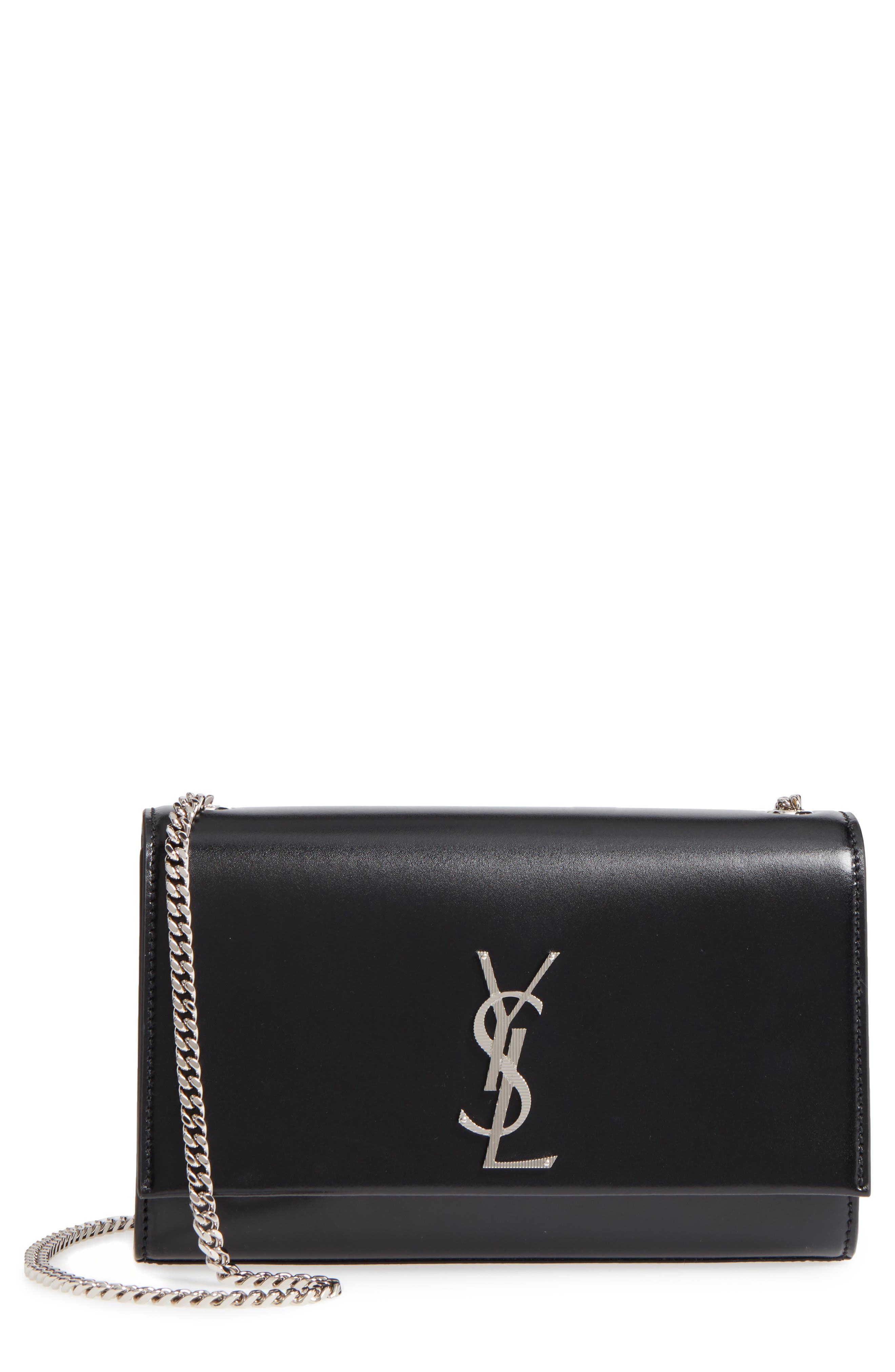 Medium Kate Calfskin Leather Crossbody Bag,                             Main thumbnail 1, color,                             Noir