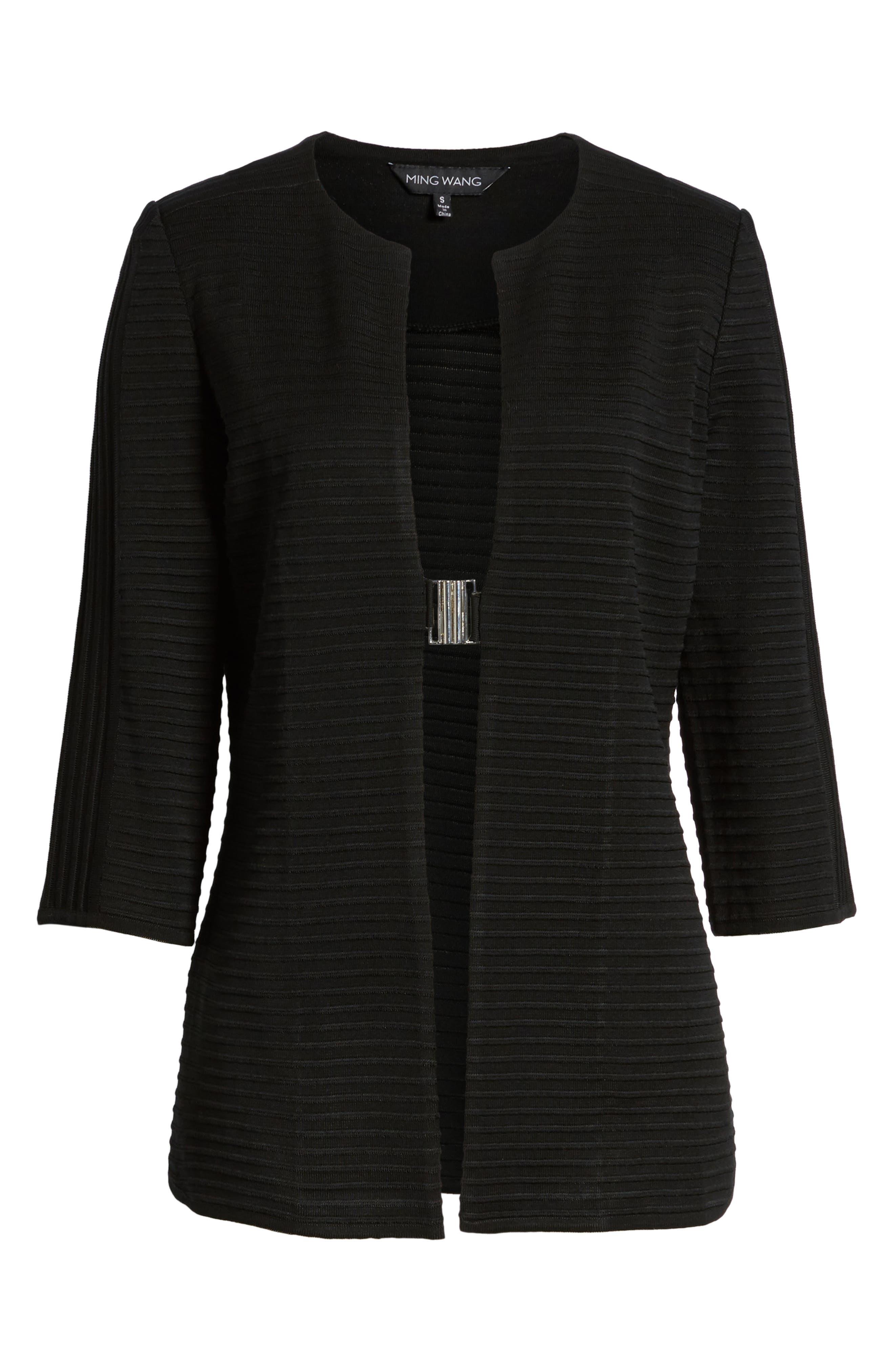 Ribbed Knit Jacket,                             Alternate thumbnail 6, color,                             Black