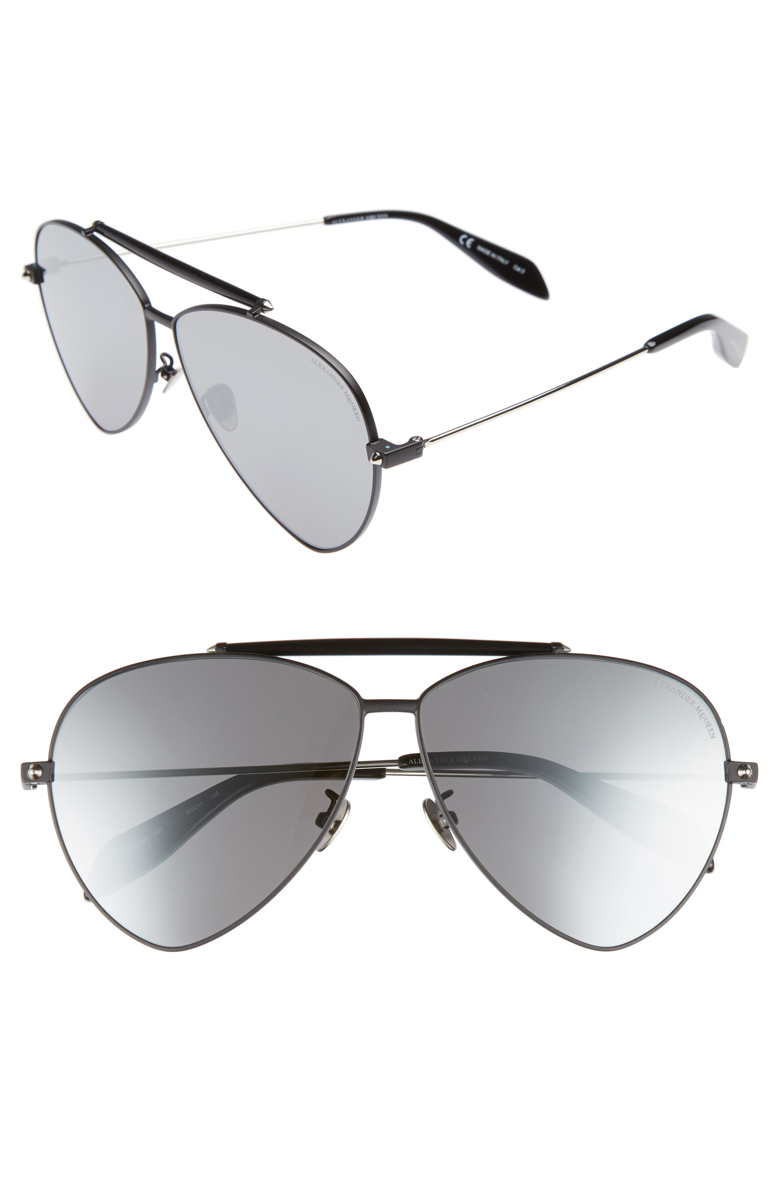 63mm Oversize Aviator Sunglasses,                             Main thumbnail 1, color,                             Black