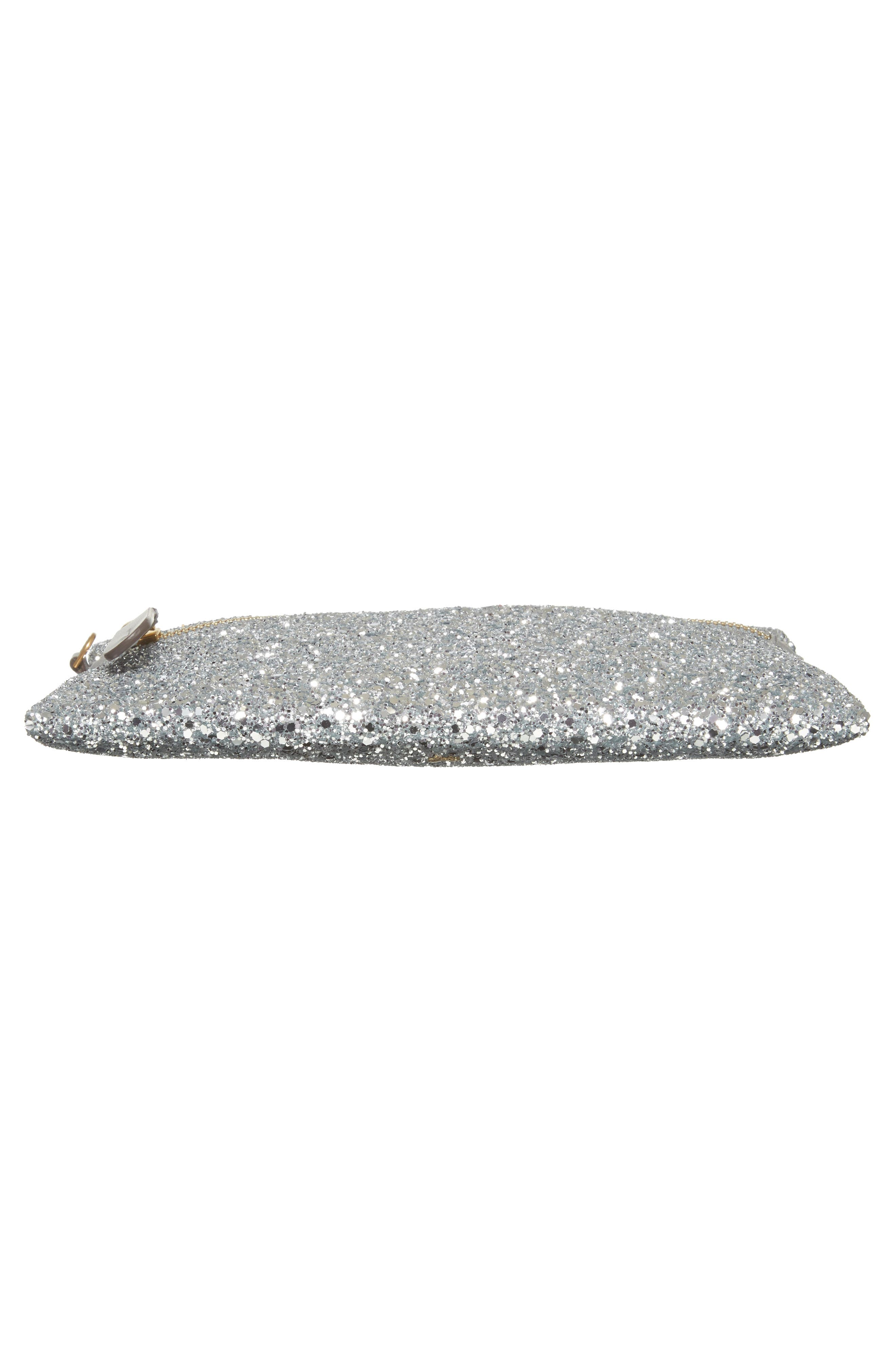 Eyes Circulus Glitter Pouch,                             Alternate thumbnail 6, color,                             Silver