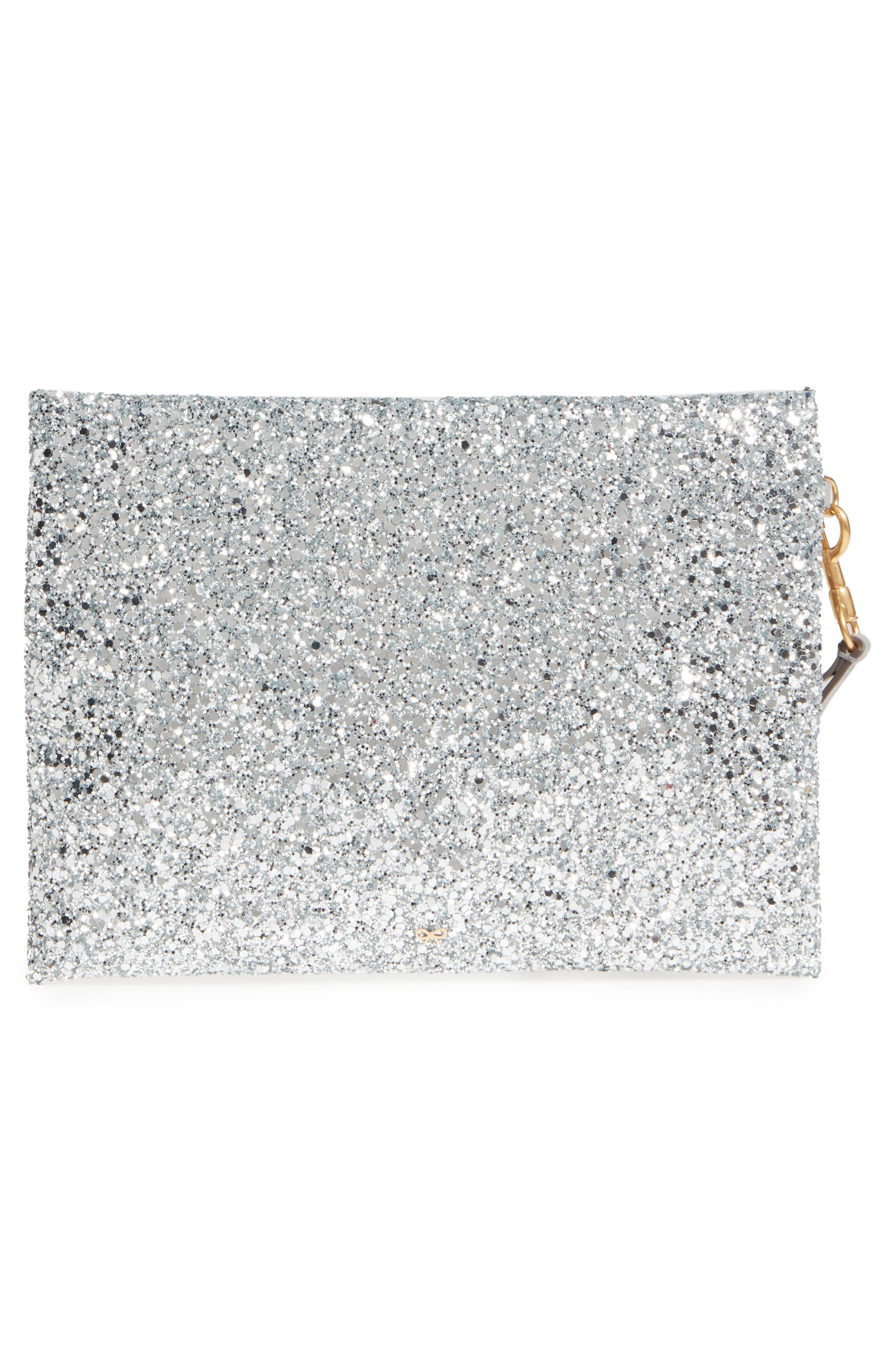 Eyes Circulus Glitter Pouch,                             Alternate thumbnail 3, color,                             Silver