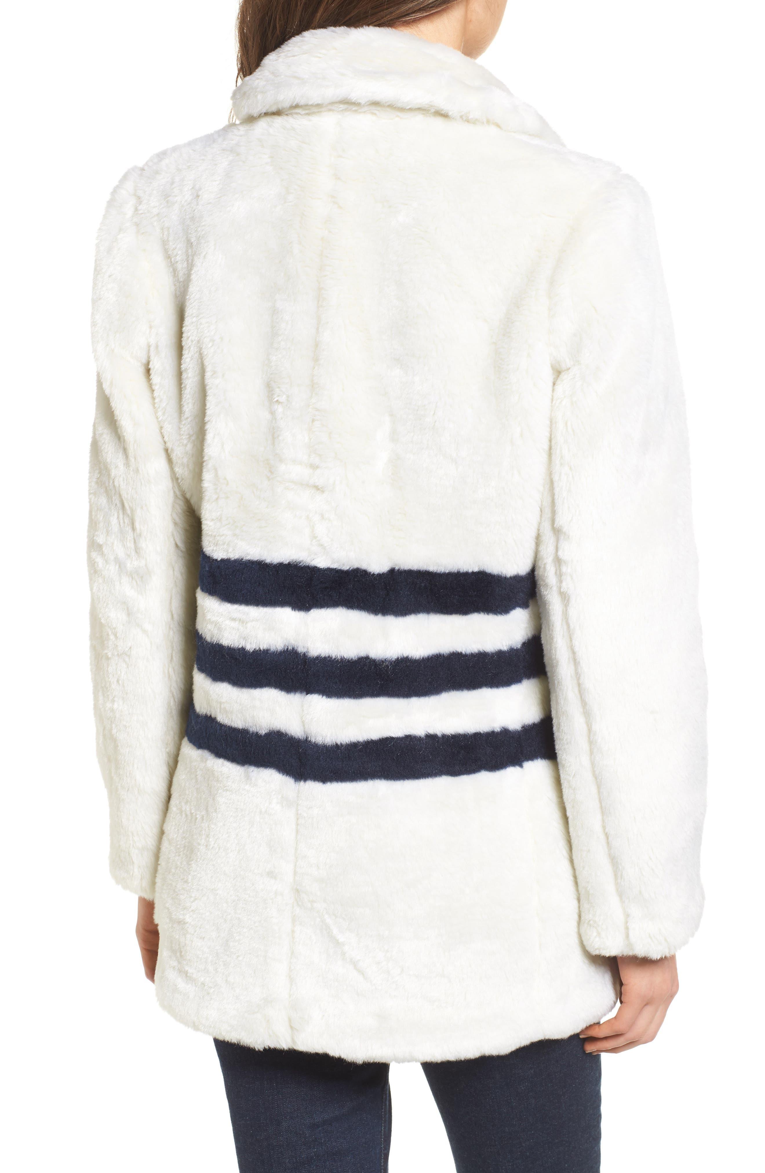 J.Crew Yuna Teddy Faux Fur Jacket,                             Alternate thumbnail 2, color,                             Ivory/ Navy
