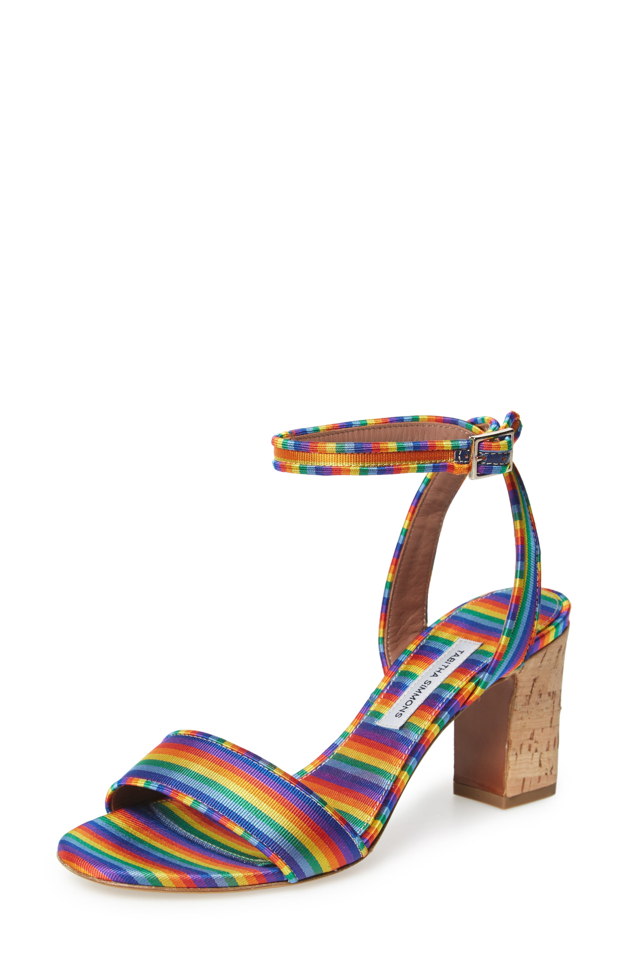 Leticia Cork Heel Sandal,                         Main,                         color, Rainbow