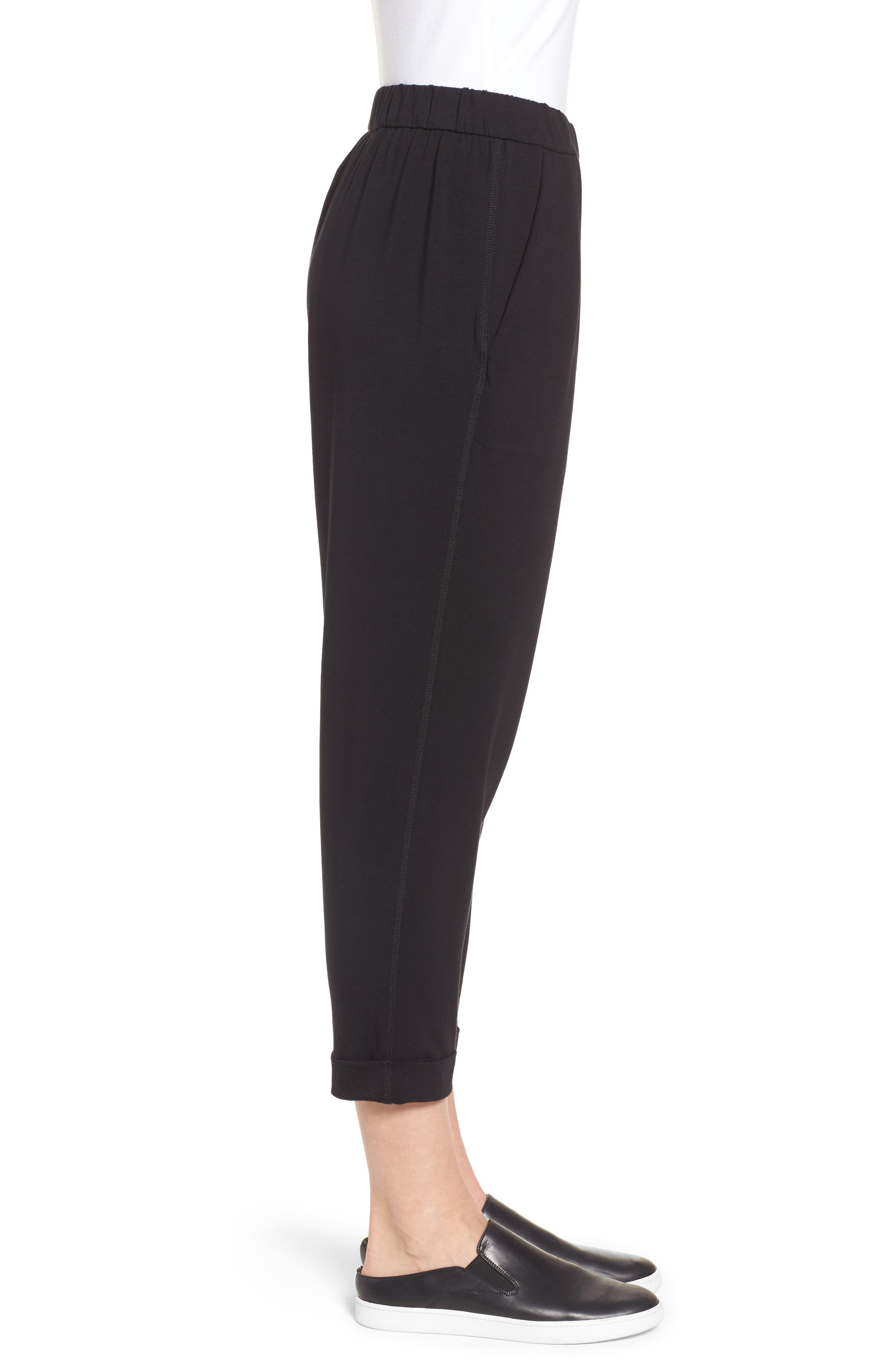 Stretch Organic Cotton Crop Pants,                             Alternate thumbnail 3, color,                             Black