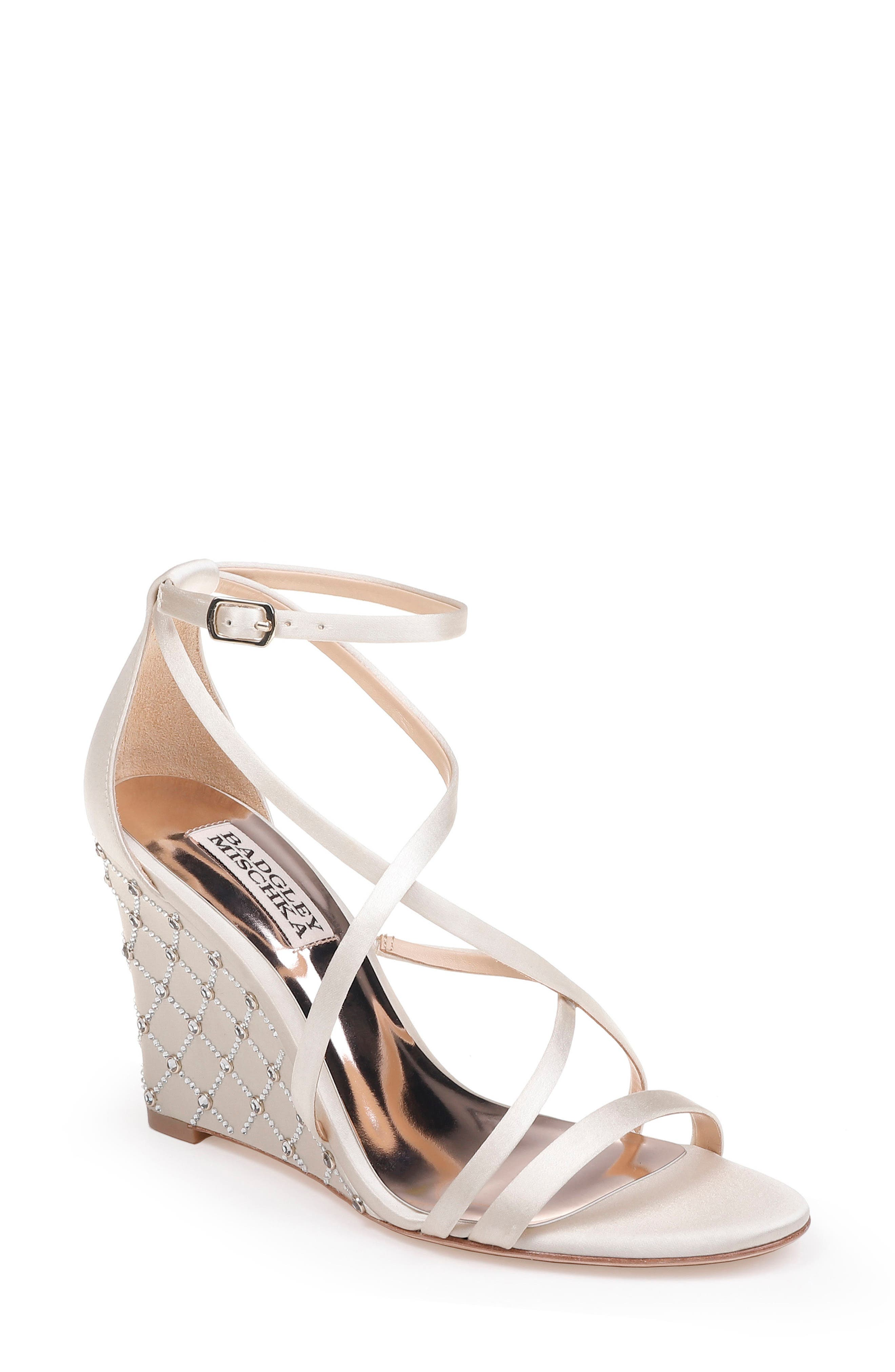 Shelly Strappy Wedge Sandal,                             Main thumbnail 1, color,                             Ivory Satin