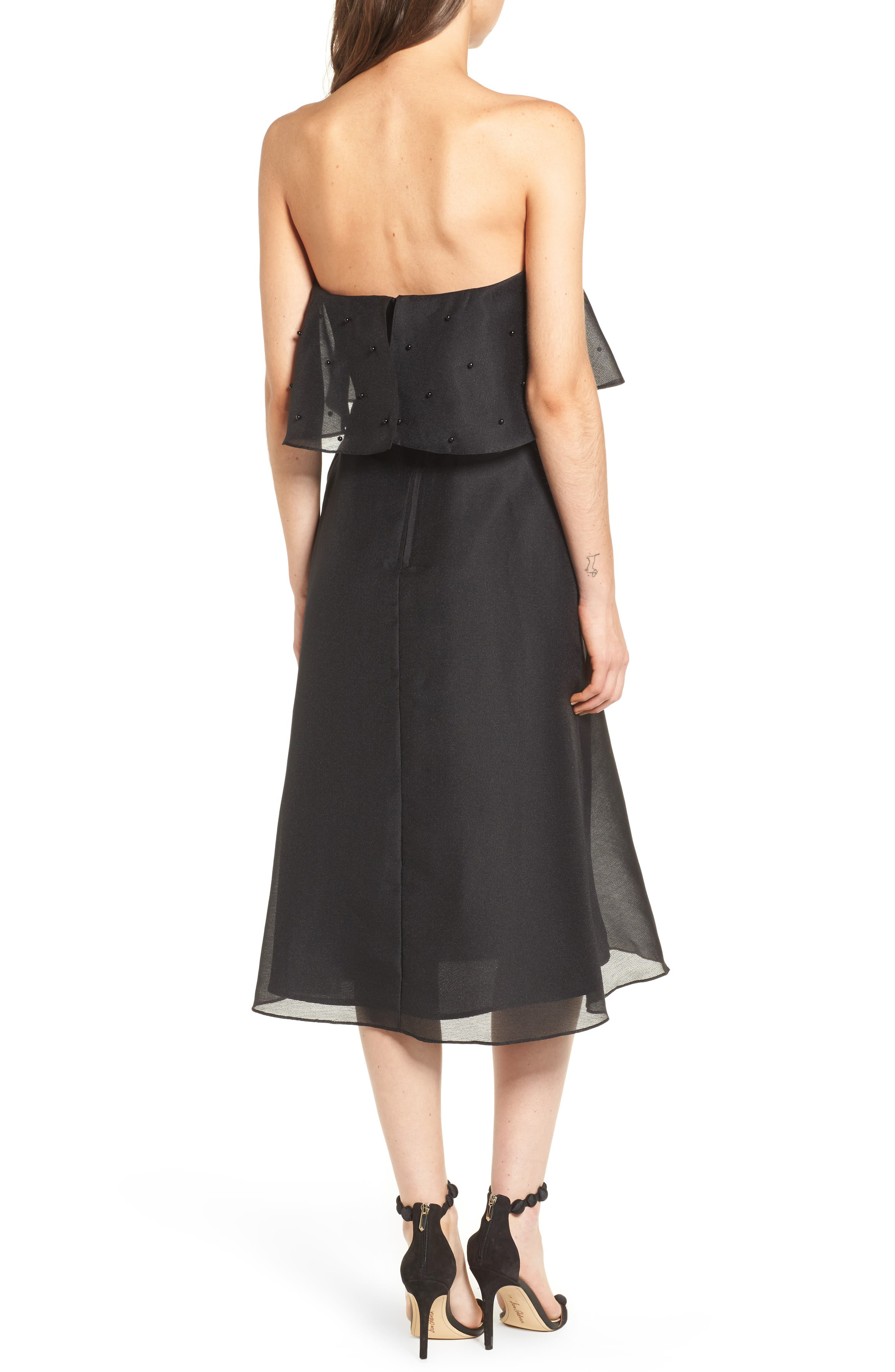 Call Me Strapless Dress,                             Alternate thumbnail 3, color,                             Black