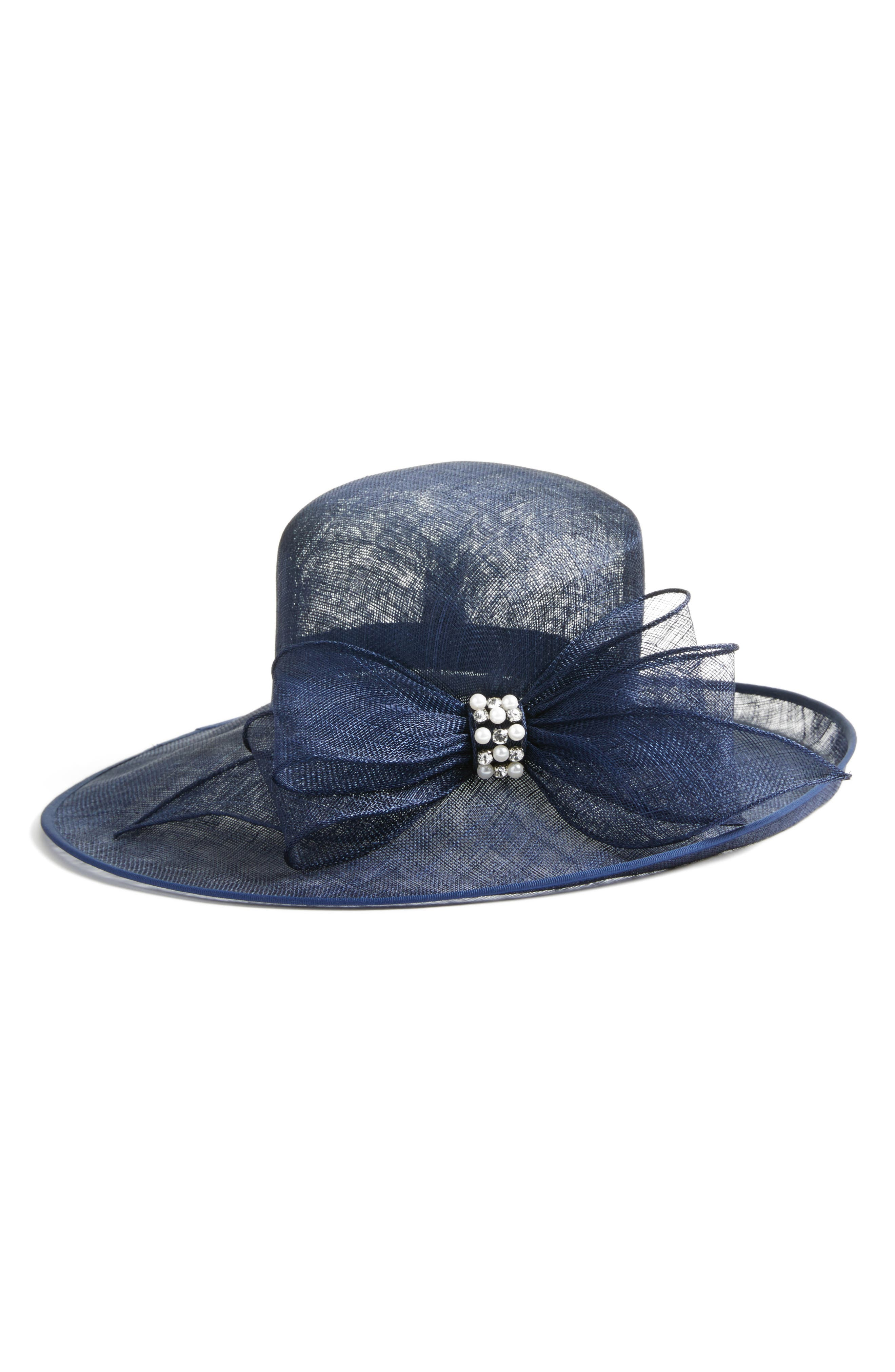 Jeweled Bow Hat,                         Main,                         color, Navy