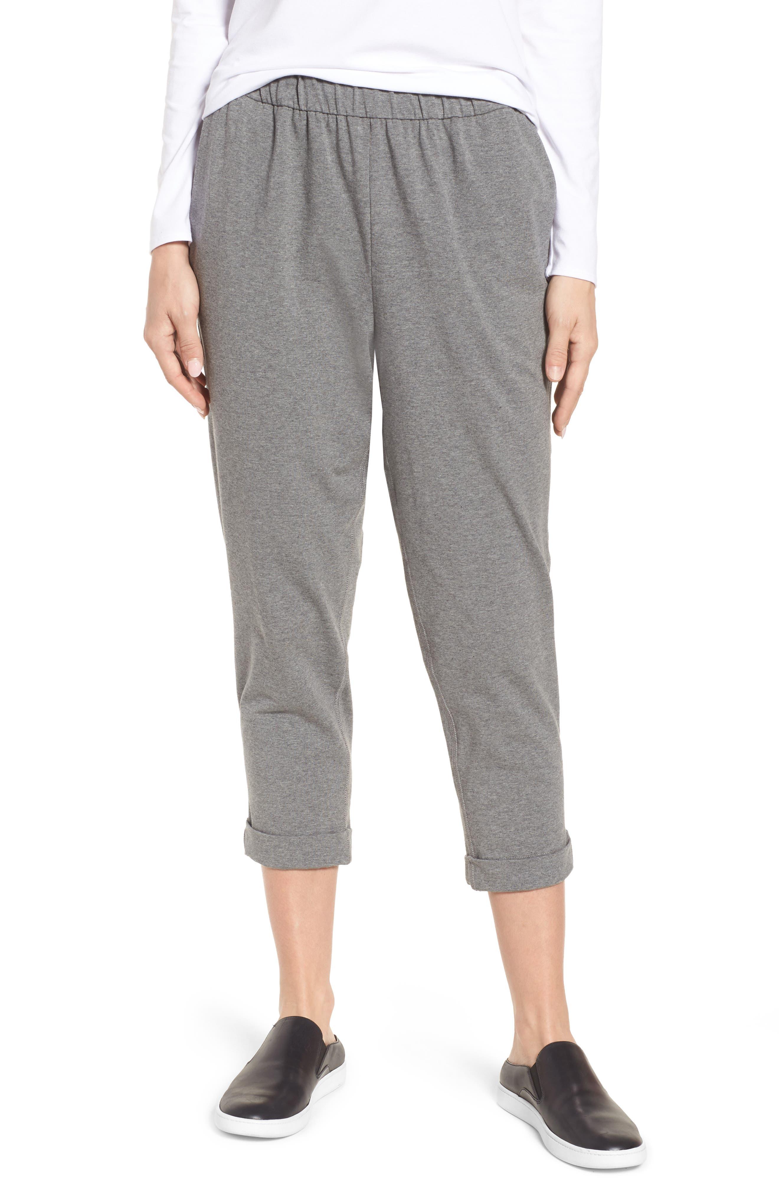 Organic Cotton Jersey Crop Pants,                         Main,                         color, Grey