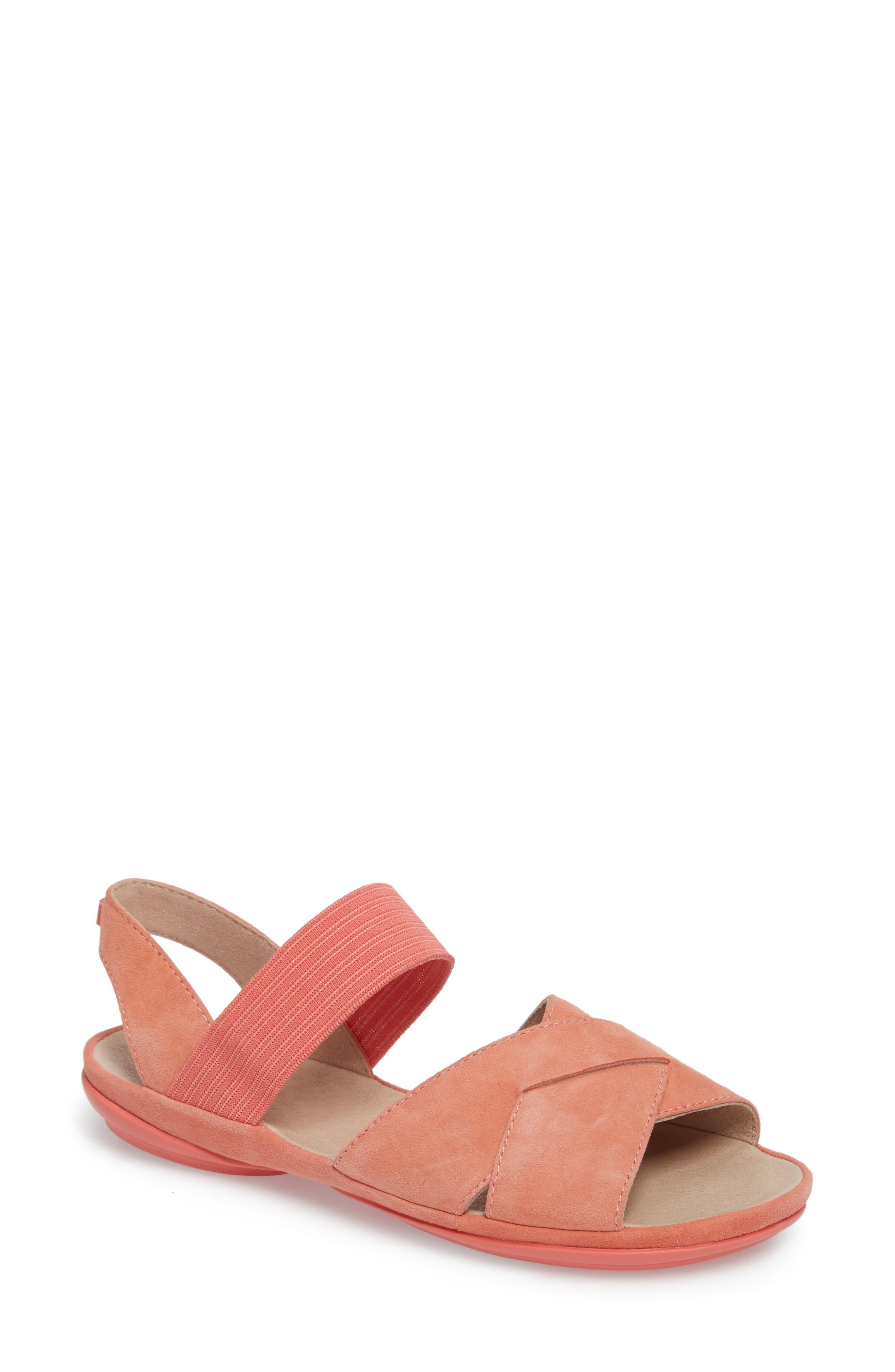 Right Nina Flat Cross Strap Sandal,                             Main thumbnail 1, color,                             Medium Pink Leather