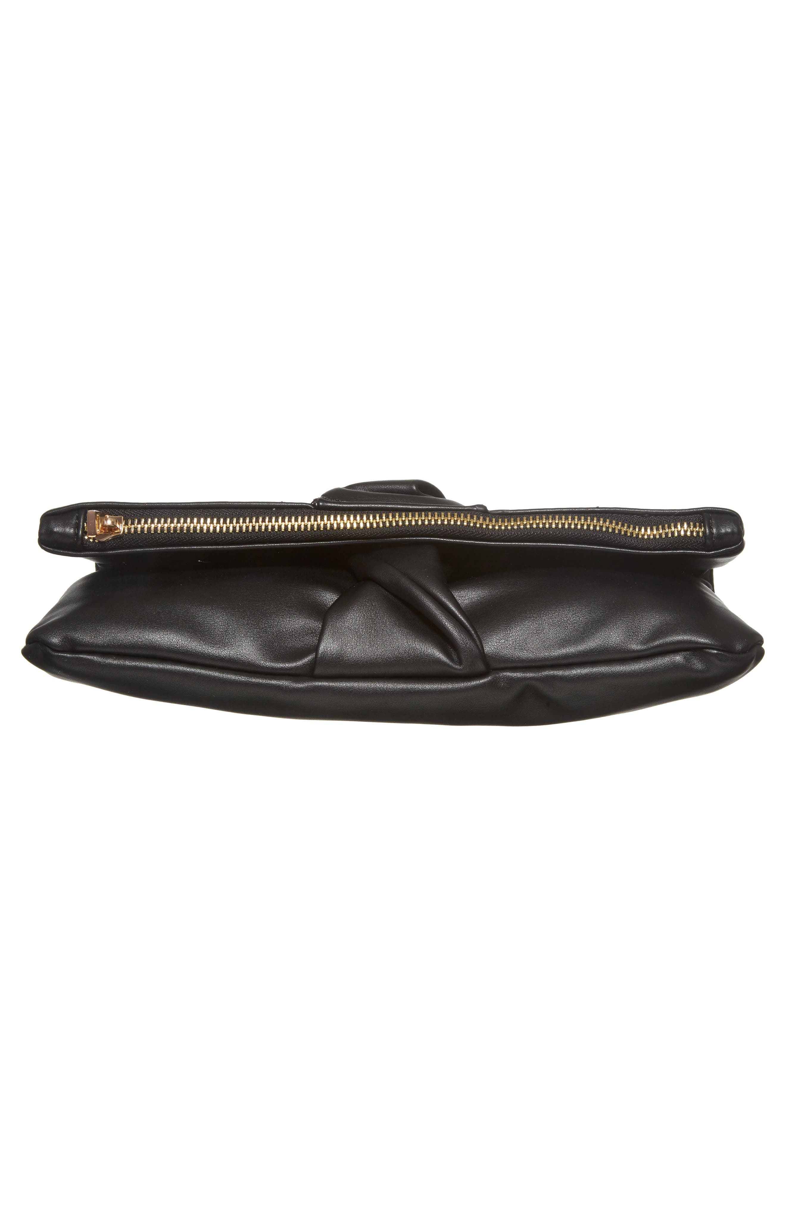 Lenore Foldover Faux Leather Clutch,                             Alternate thumbnail 6, color,                             Black