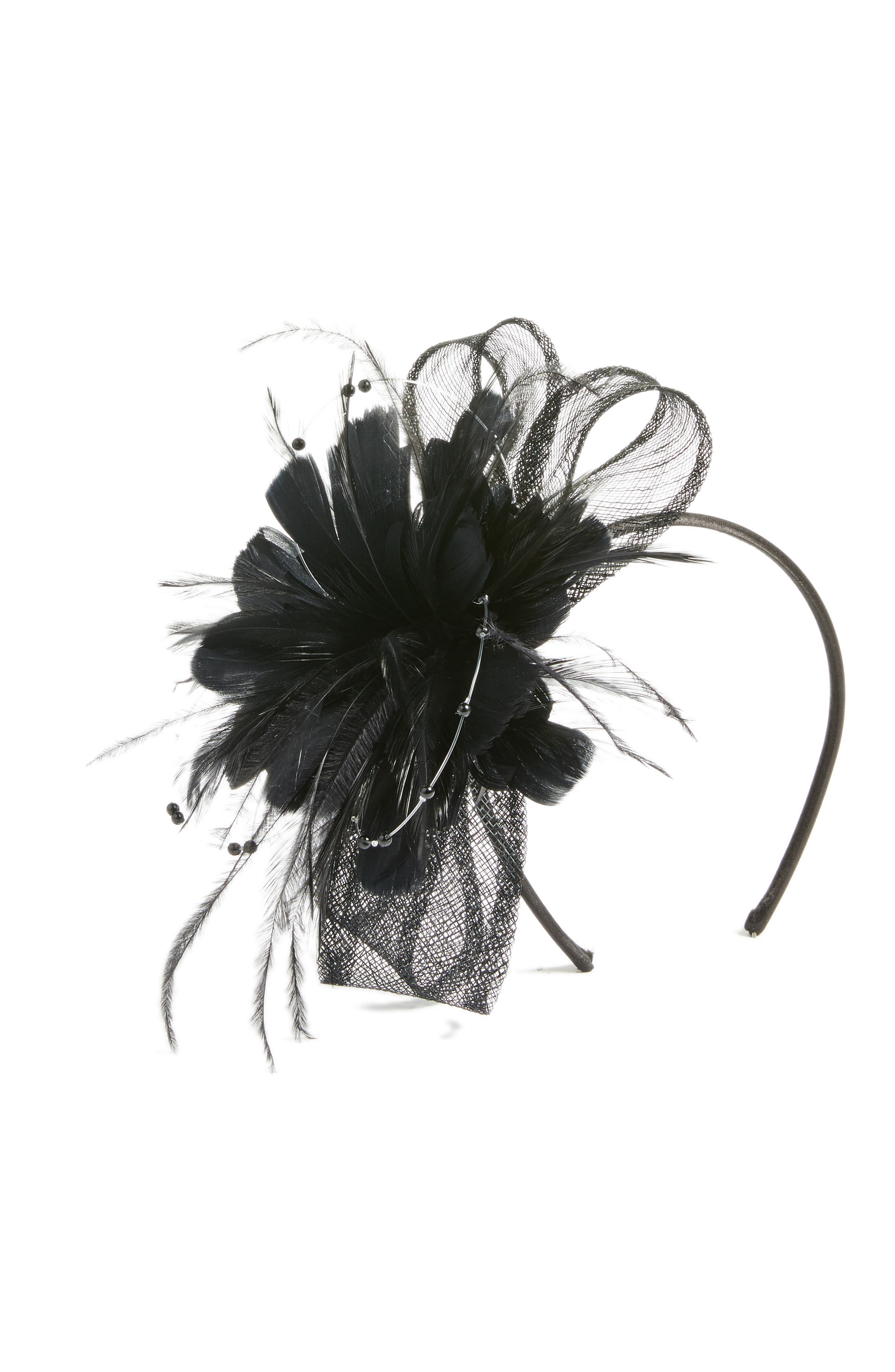 Feather & Imitation Pearl Fascinator Headband,                             Main thumbnail 1, color,                             Black