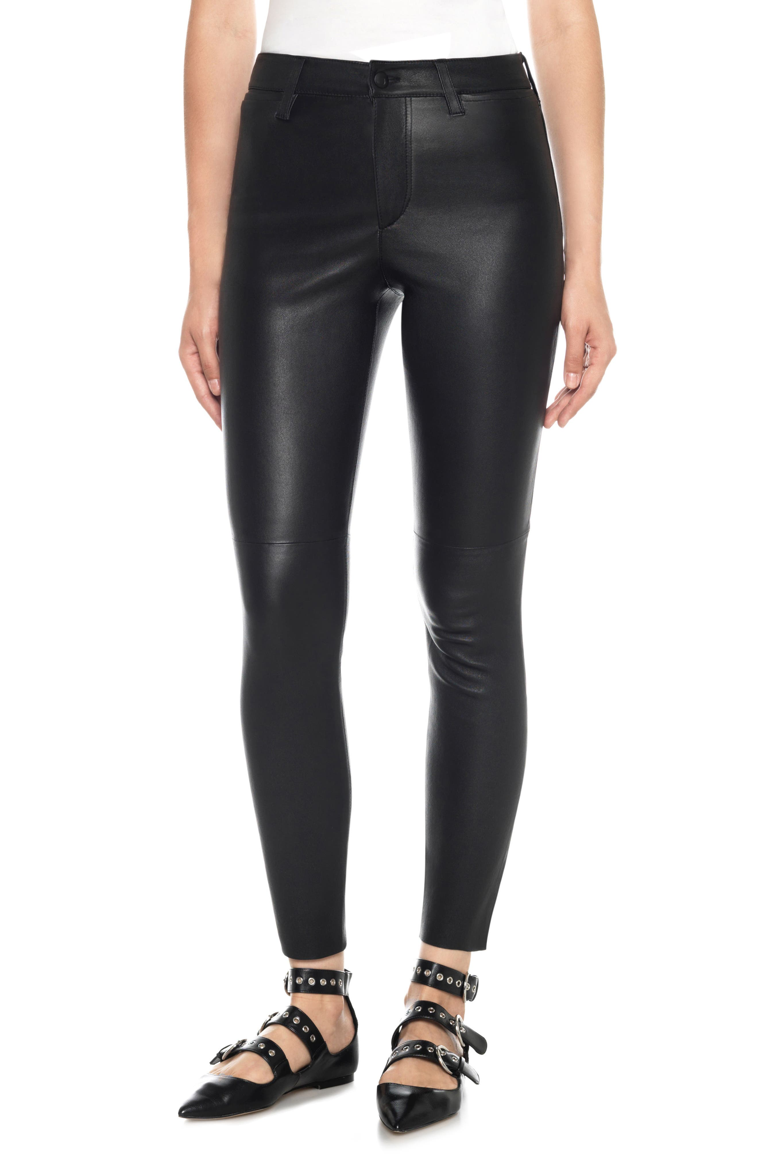 Charlie High Waist Ankle Skinny Leather Jeans,                         Main,                         color, Veruca