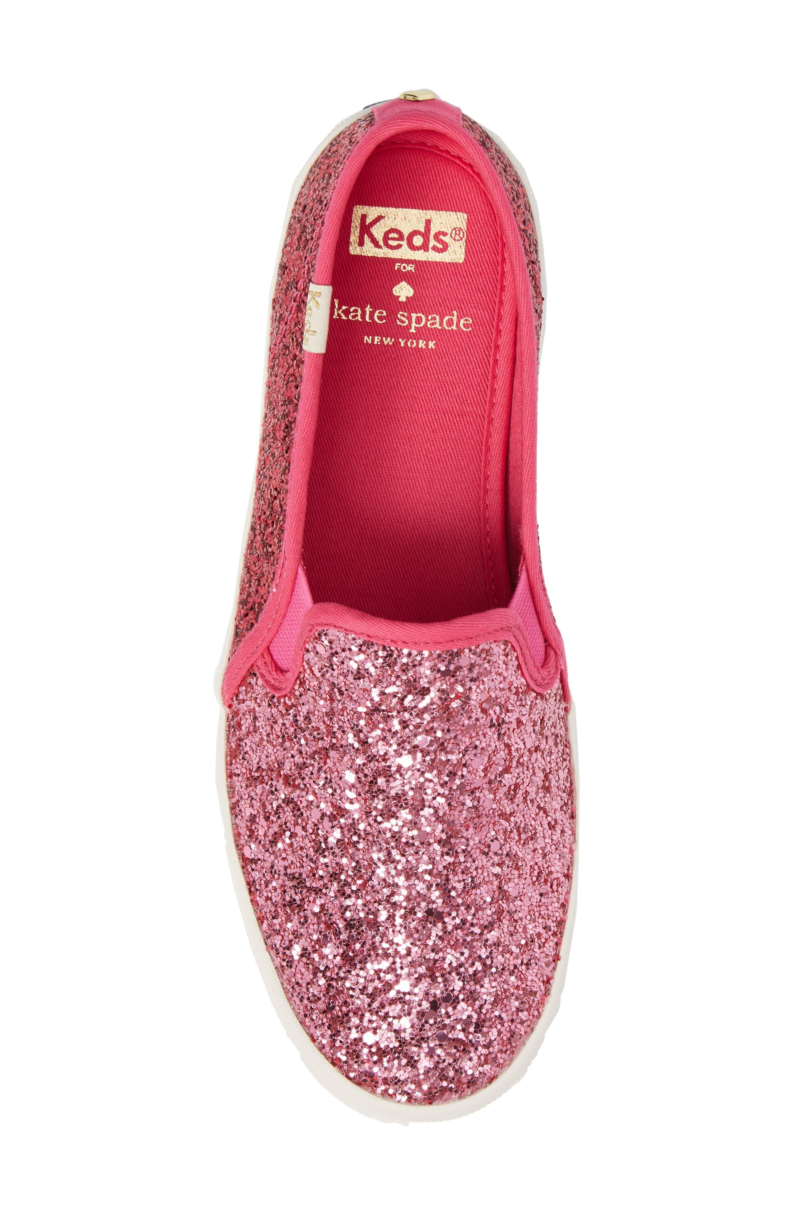 double decker glitter slip-on sneaker,                             Alternate thumbnail 5, color,                             Pink Glitter