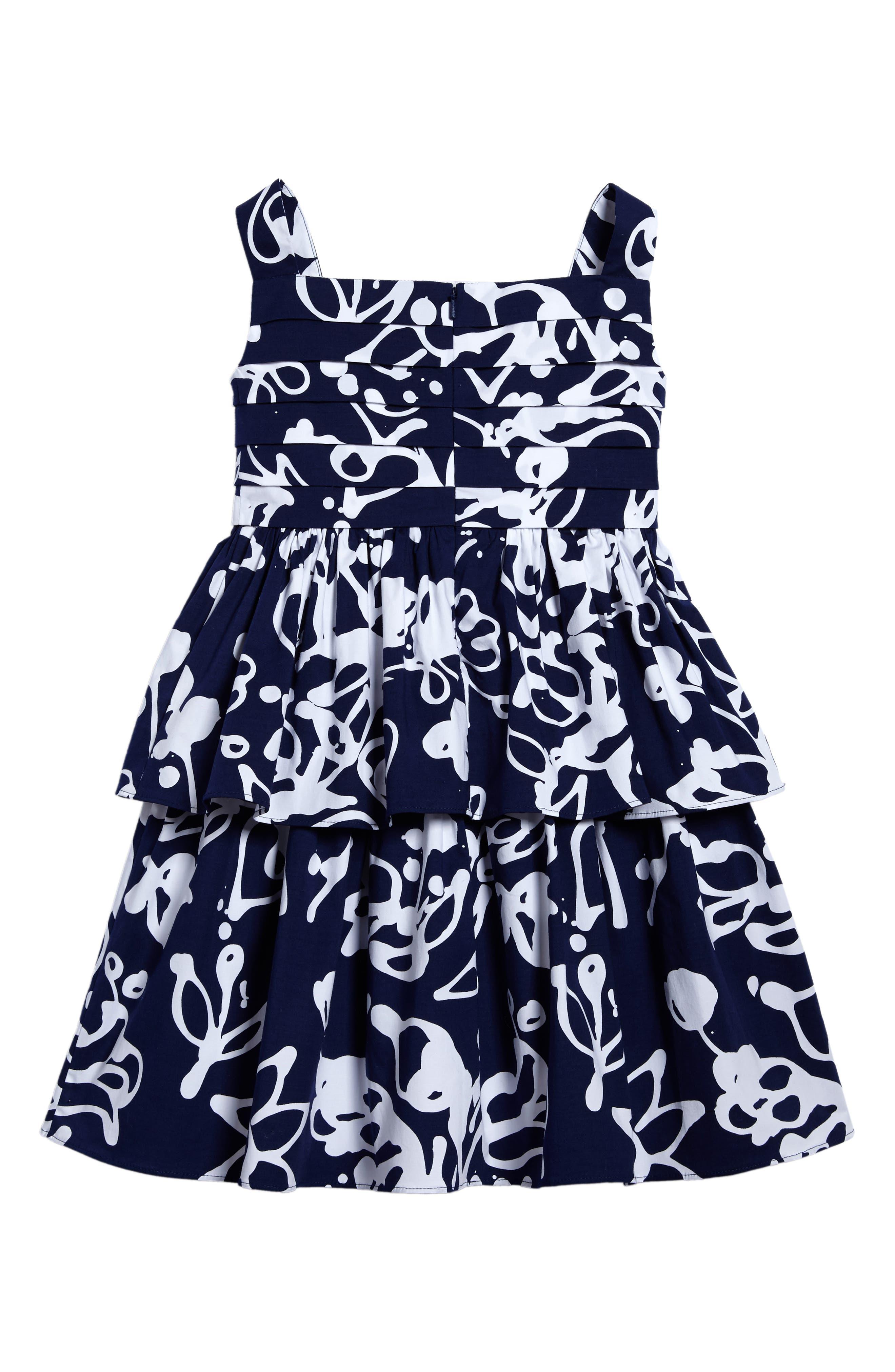 Scribbles Sleeveless Dress,                             Alternate thumbnail 2, color,                             Navy/ White