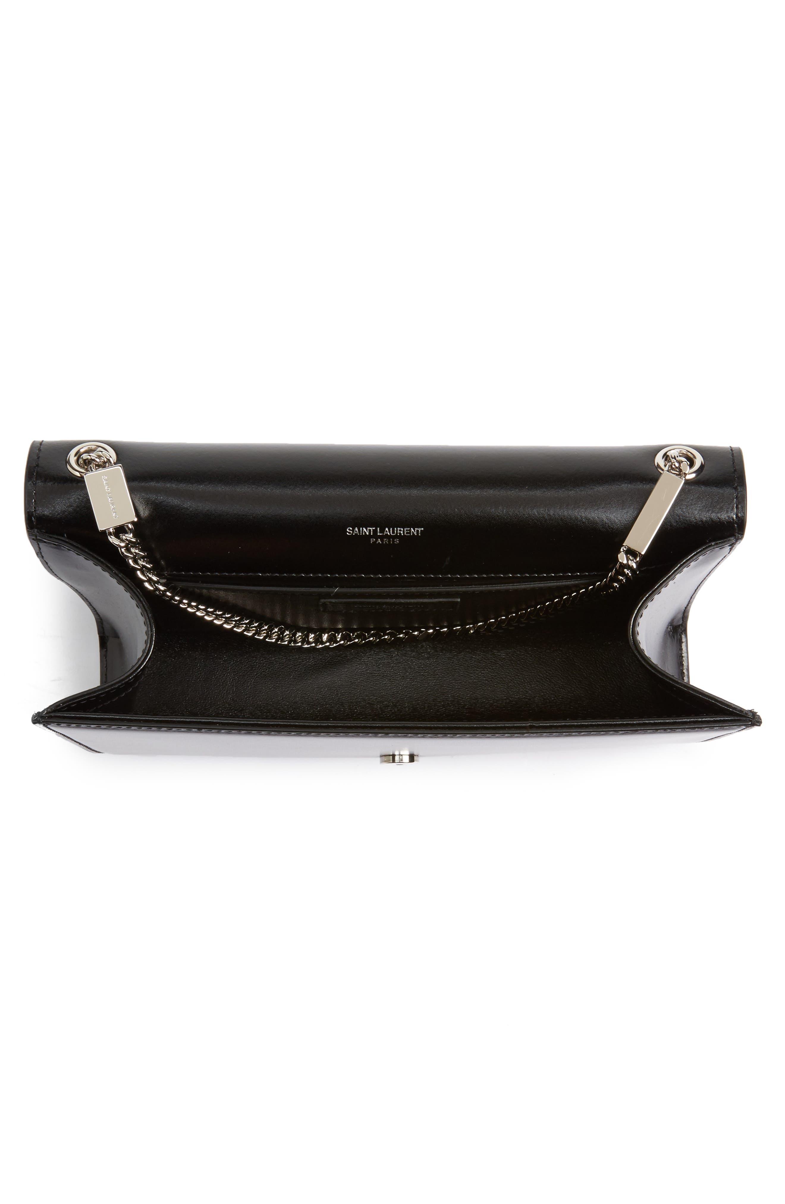 Medium Kate Calfskin Leather Crossbody Bag,                             Alternate thumbnail 4, color,                             Noir