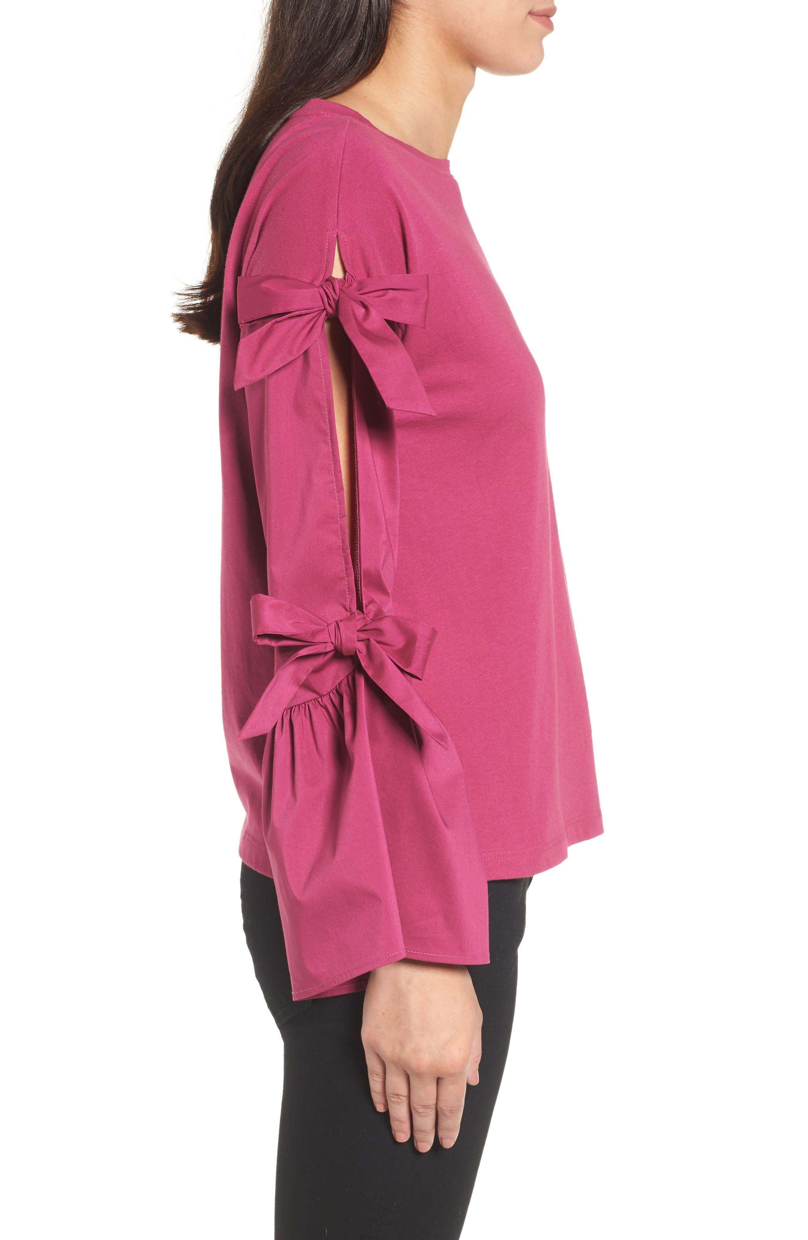 Alternate Image 3  - Halogen® Bow Sleeve Poplin Cotton Top (Regular & Petite)