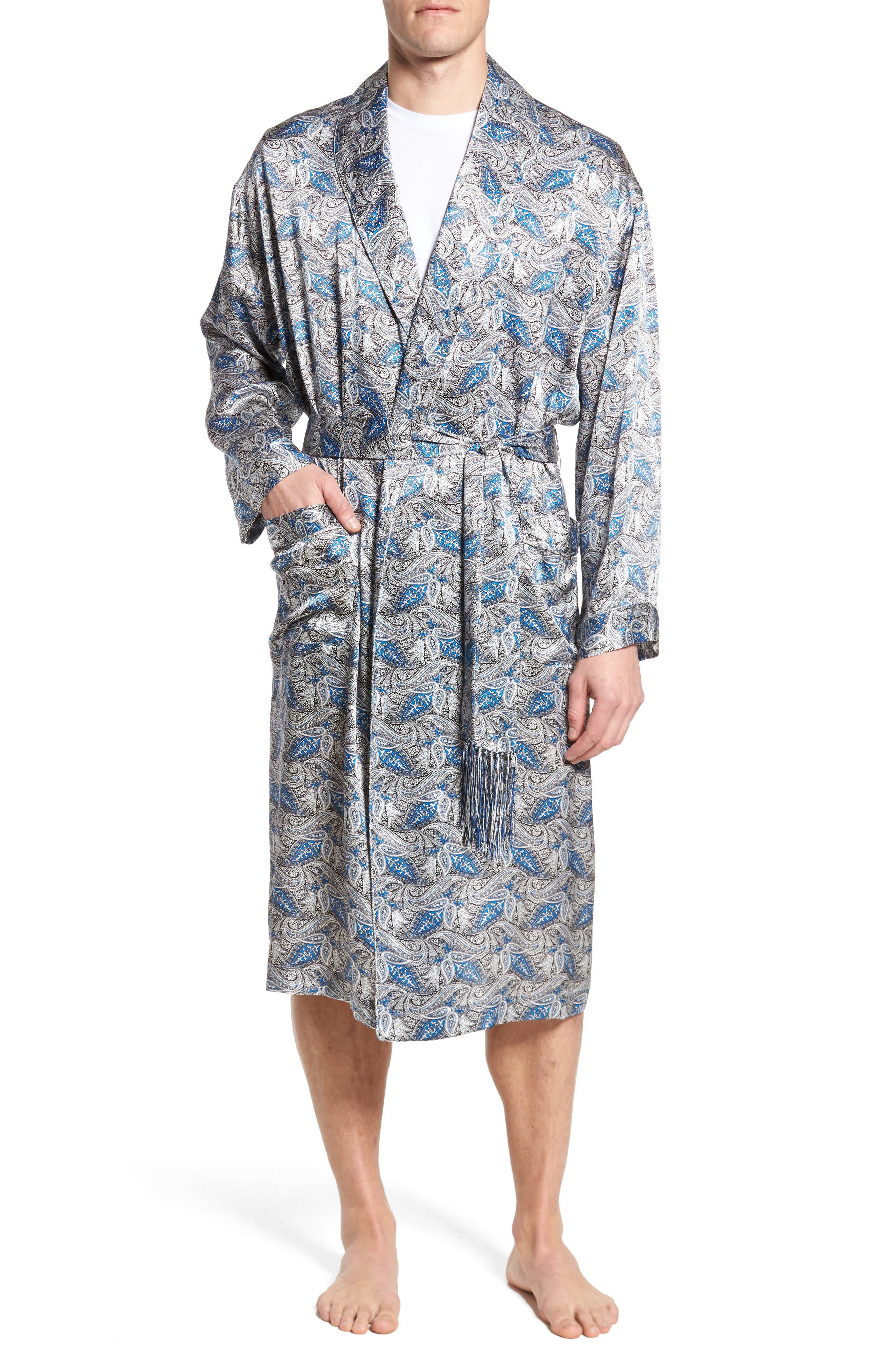 'Cypress' Silk Dot Robe,                         Main,                         color, Sky Blue/ Self Piping