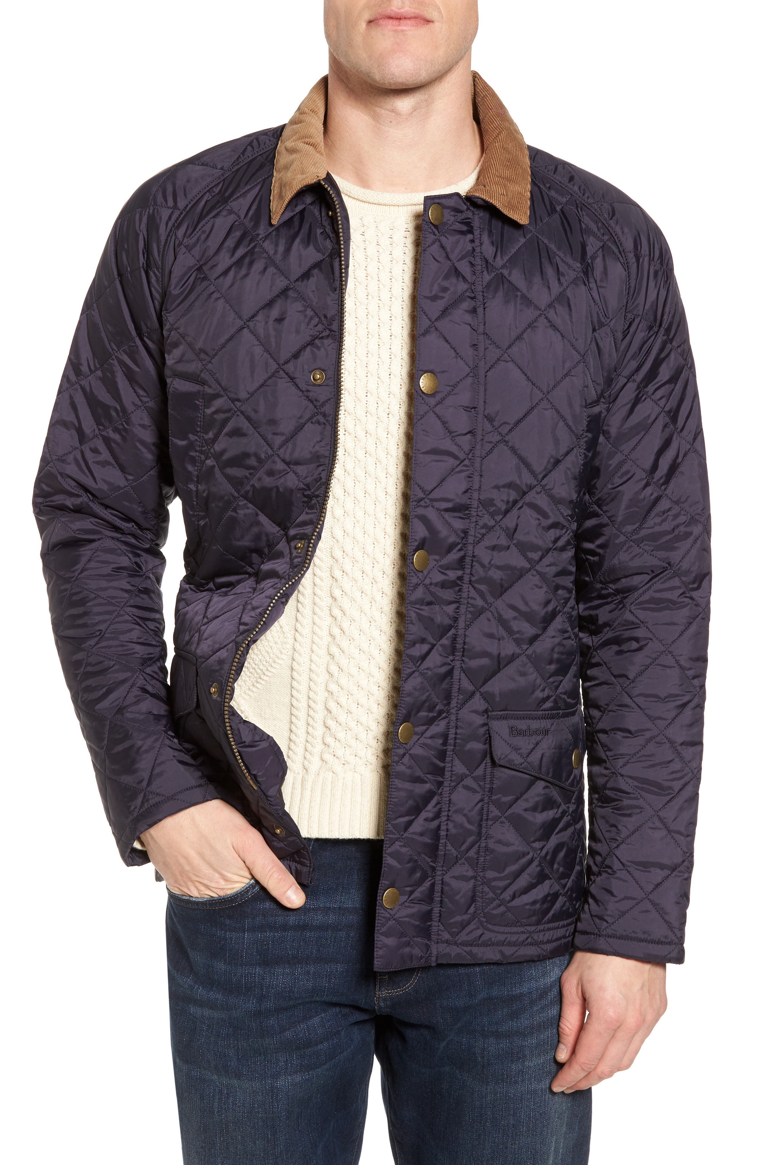 'Canterdale' Slim Fit Water-Resistant Diamond Quilted Jacket,                             Main thumbnail 1, color,                             Navy