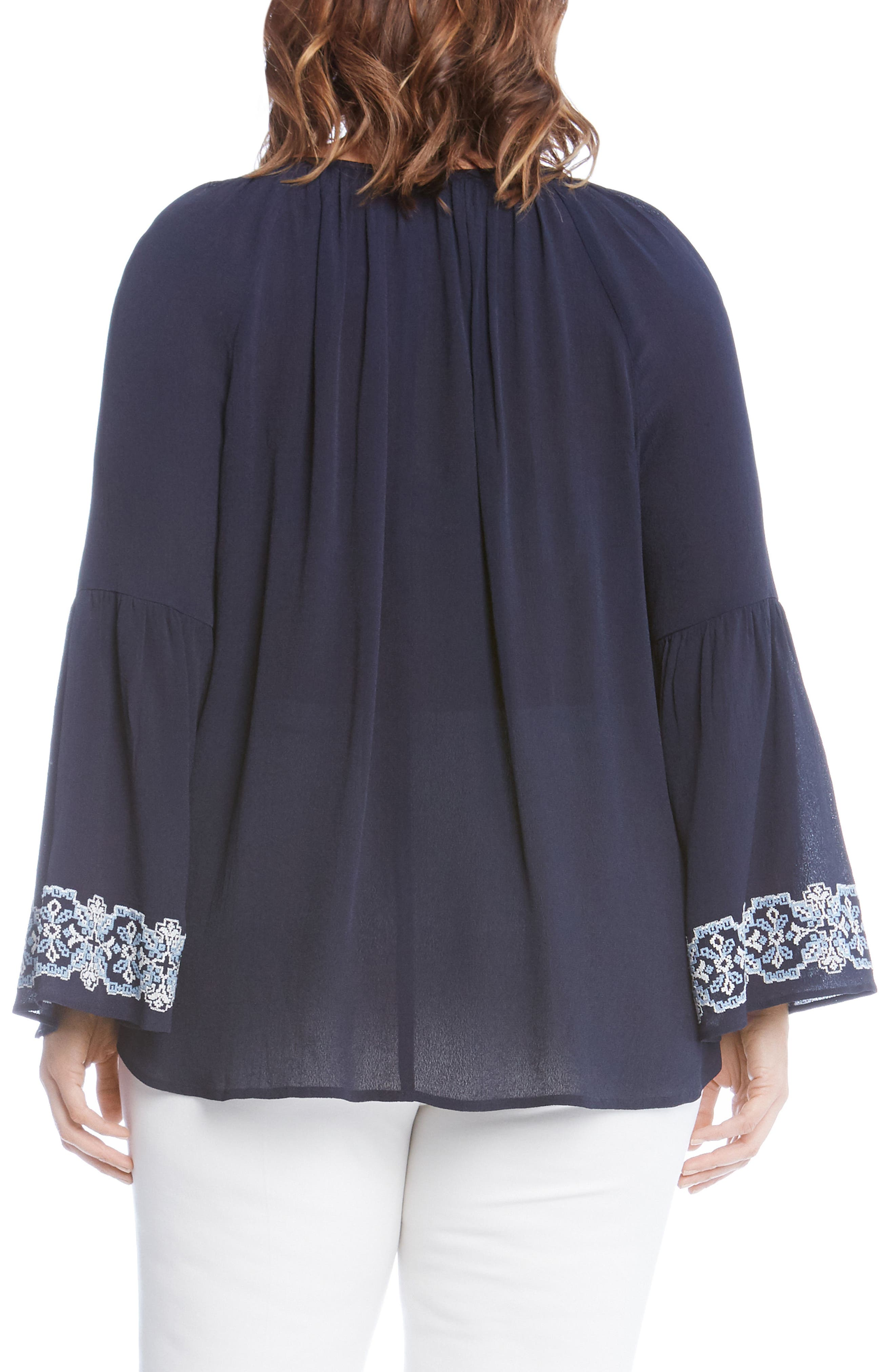 Double Tassel Embroidered Top,                             Alternate thumbnail 2, color,                             Navy