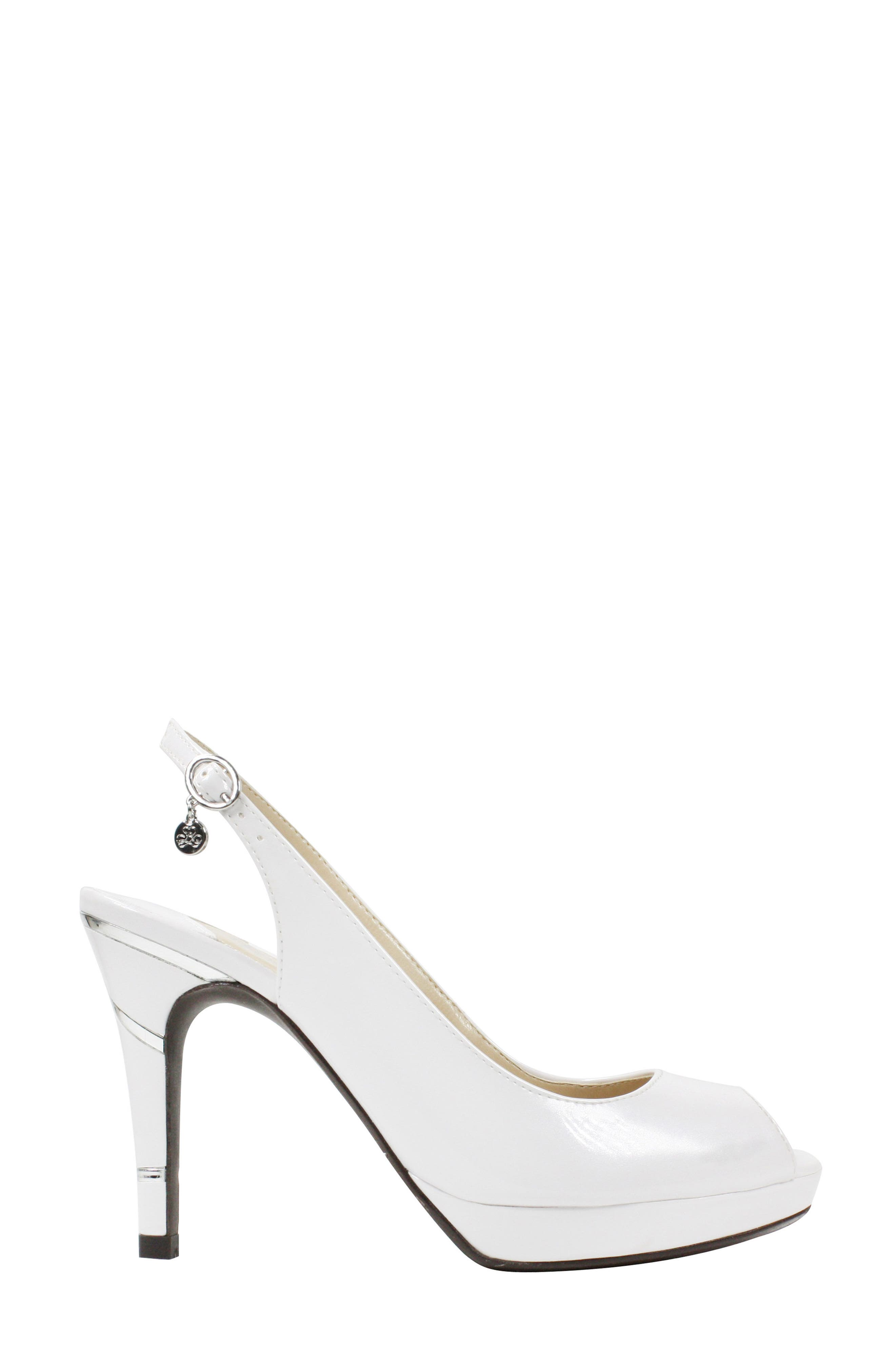 Onille Slingback Pump,                             Alternate thumbnail 3, color,                             Pearl White Faux Leather