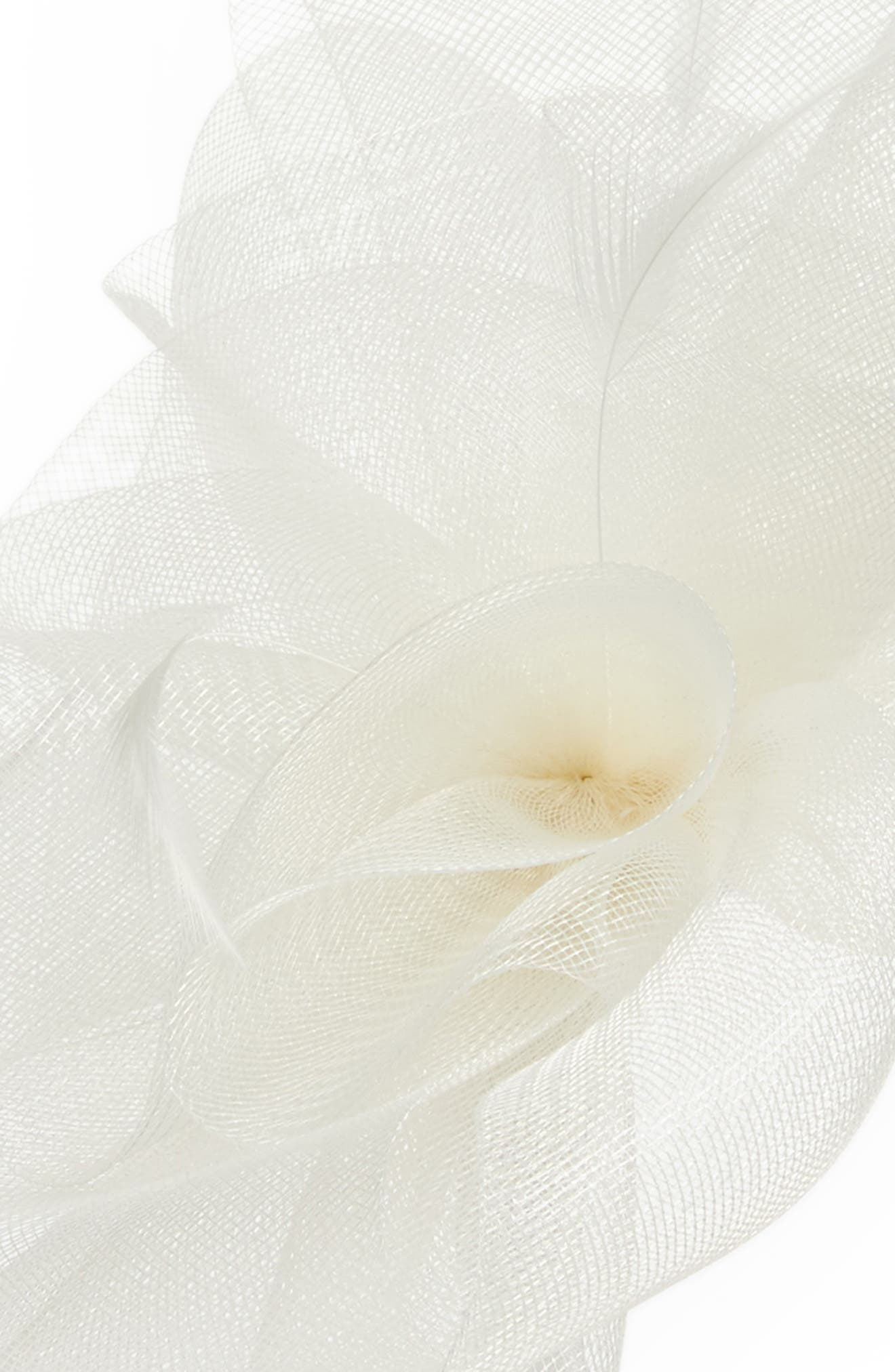 Feather Bouquet Fascinator Headband,                             Alternate thumbnail 2, color,                             Ivory
