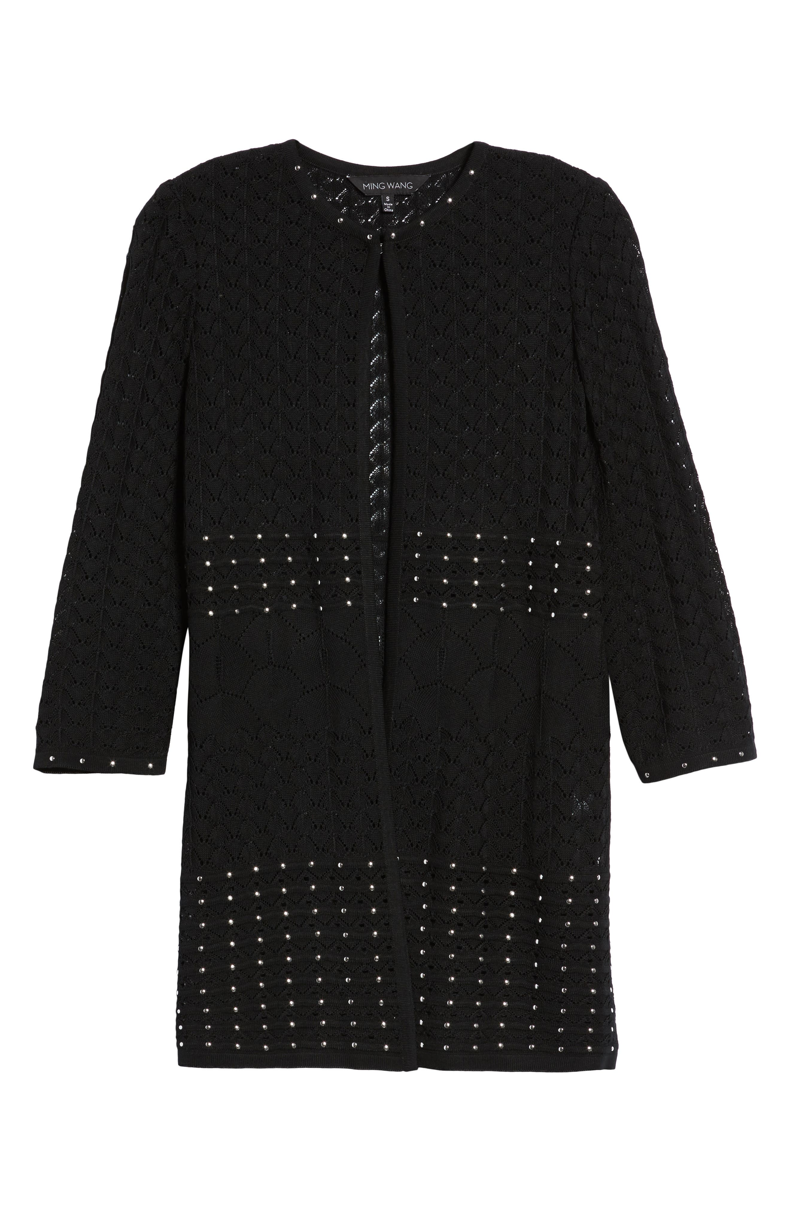 Studded Pointelle Sweater Jacket,                             Alternate thumbnail 6, color,                             Black